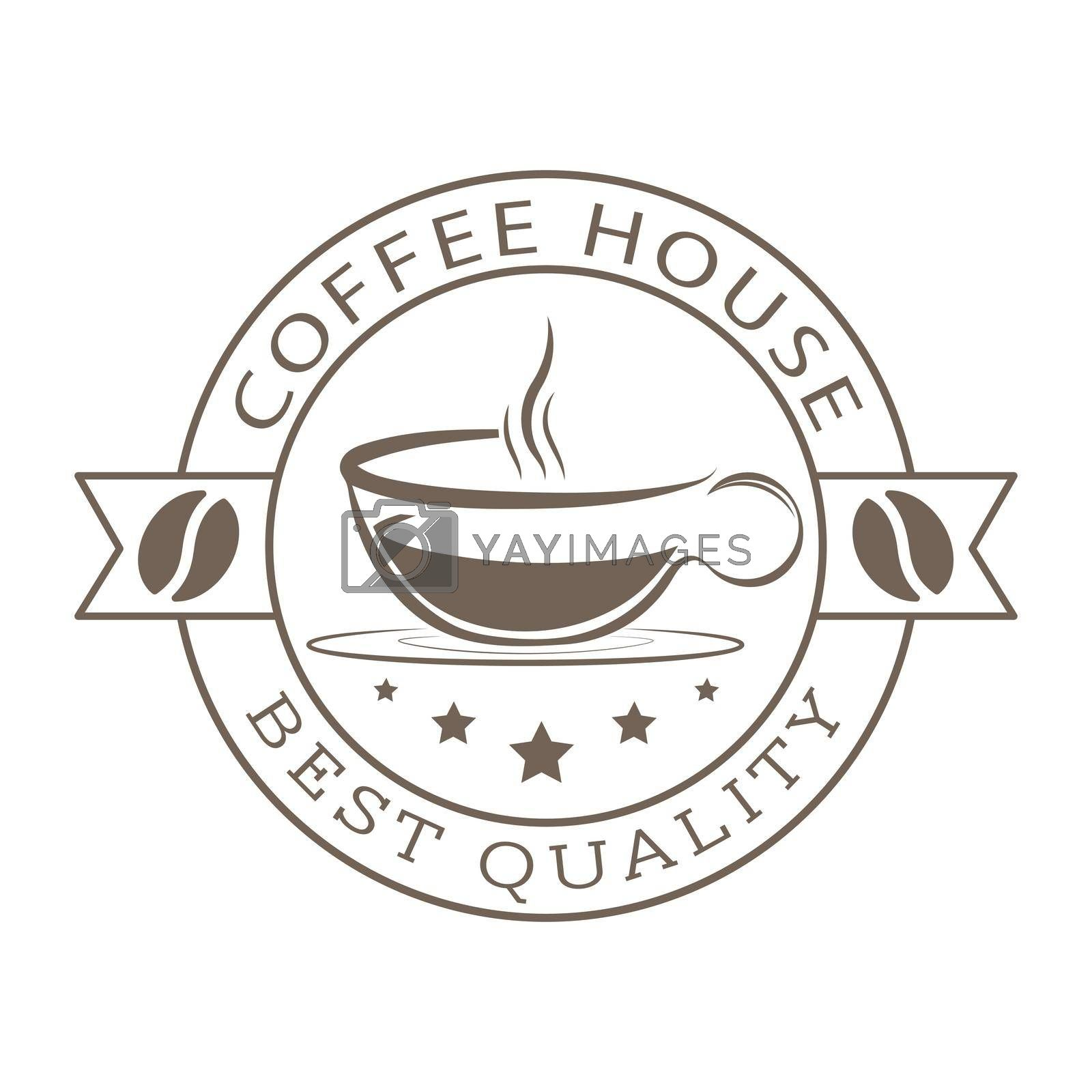 An impression of a stamp with a cup of coffee, coffee grain and inscriptions. Template, for logo, brand, sticker, and creative design. Flat Style