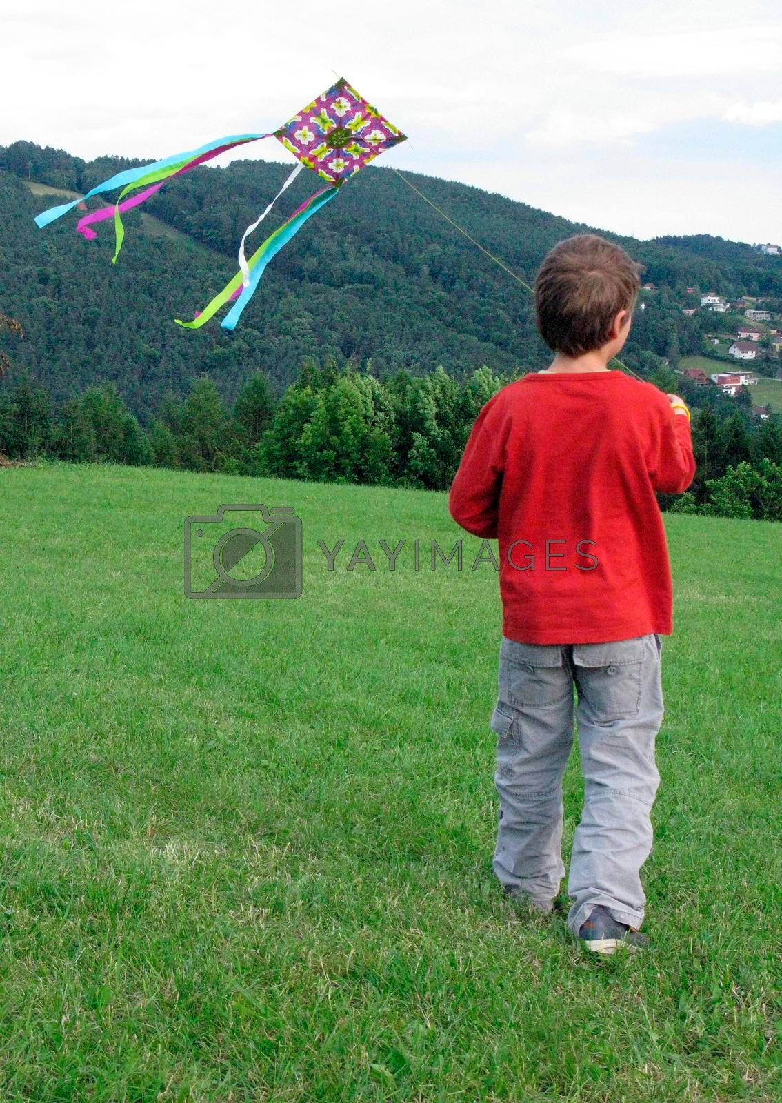 kite flying as a summer leisure activity in windy weather conditions