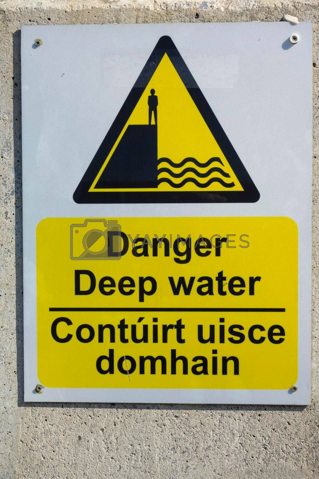 warning signs and symbols for water sports and bathing in summer