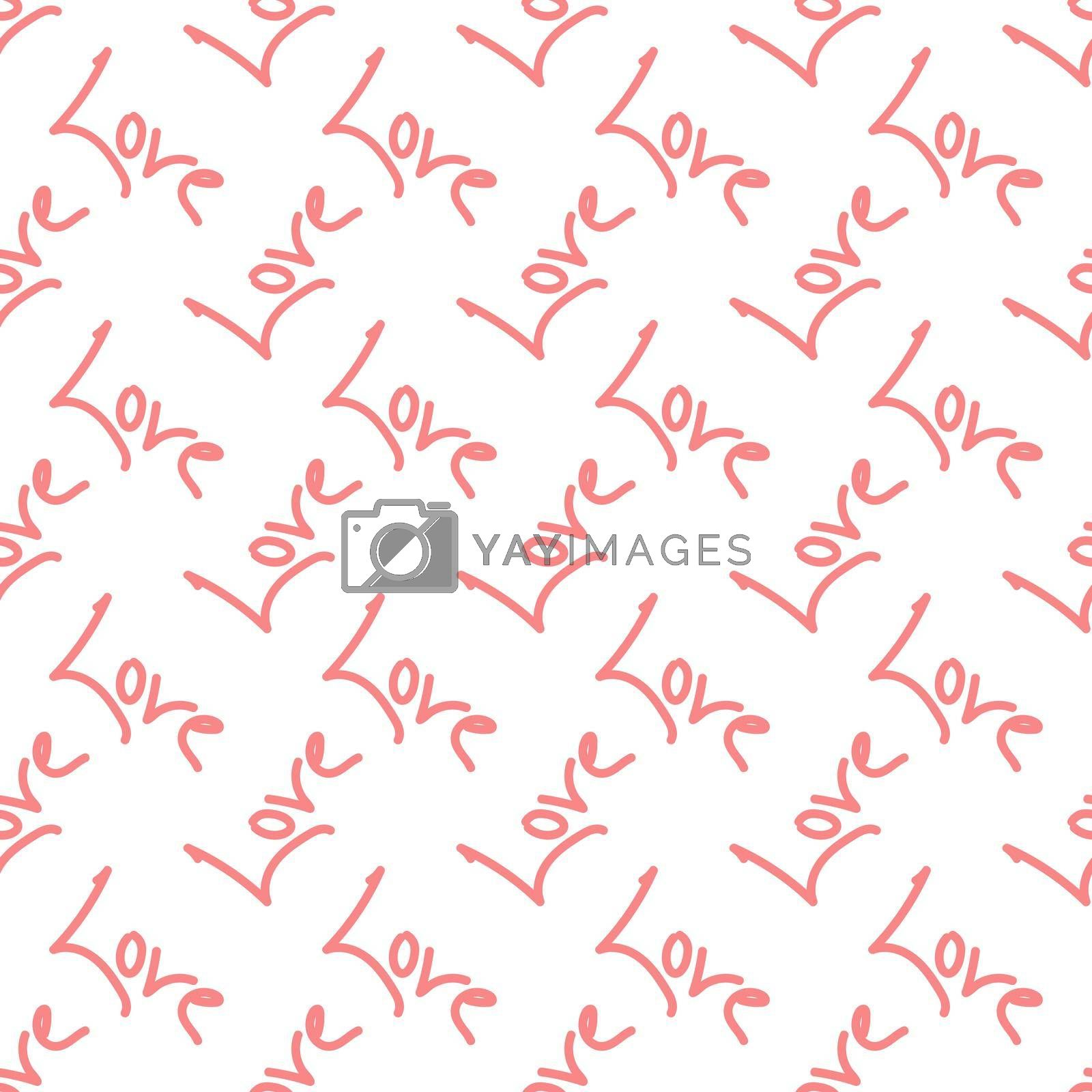 Royalty free image of Seamless pattern with the word LOVE for texture, textiles and simple backgrounds by Grommik