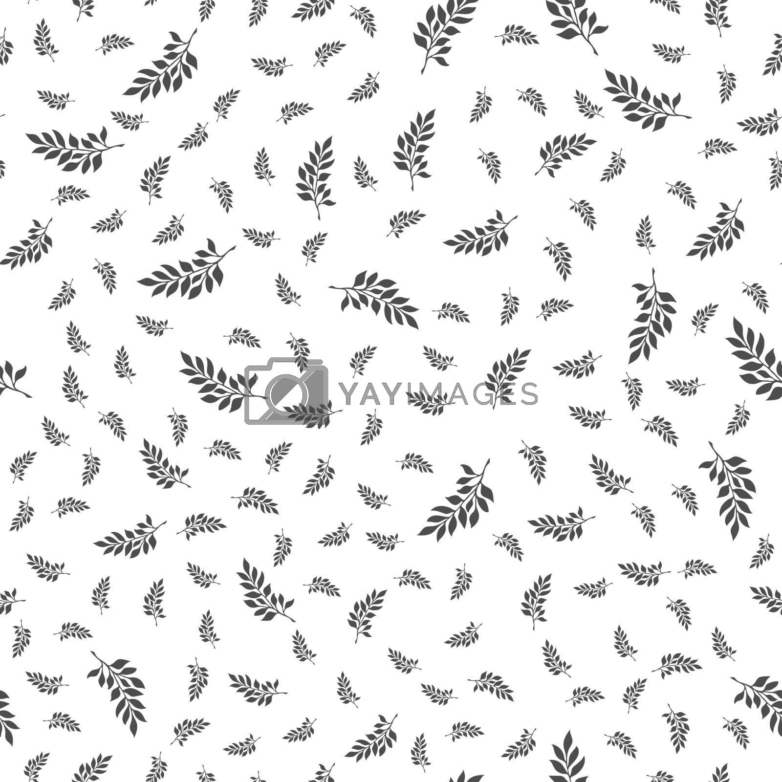 Seamless natural pattern of plant branches for texture, textiles and simple backgrounds. Flat design.