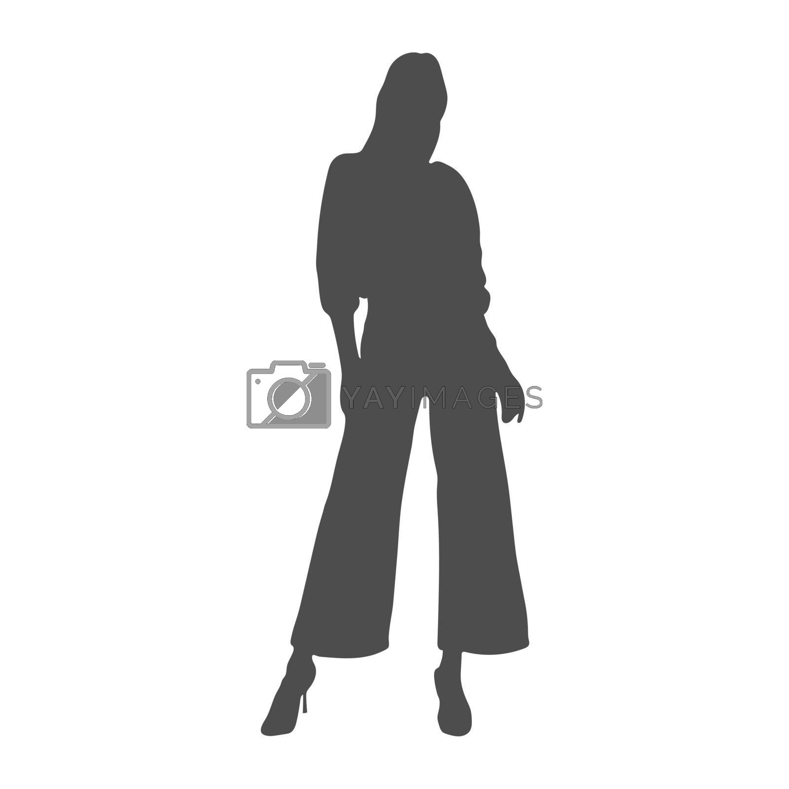 silhouette of a fashionable girl. Fashion show or mannequin icon. Flat Style
