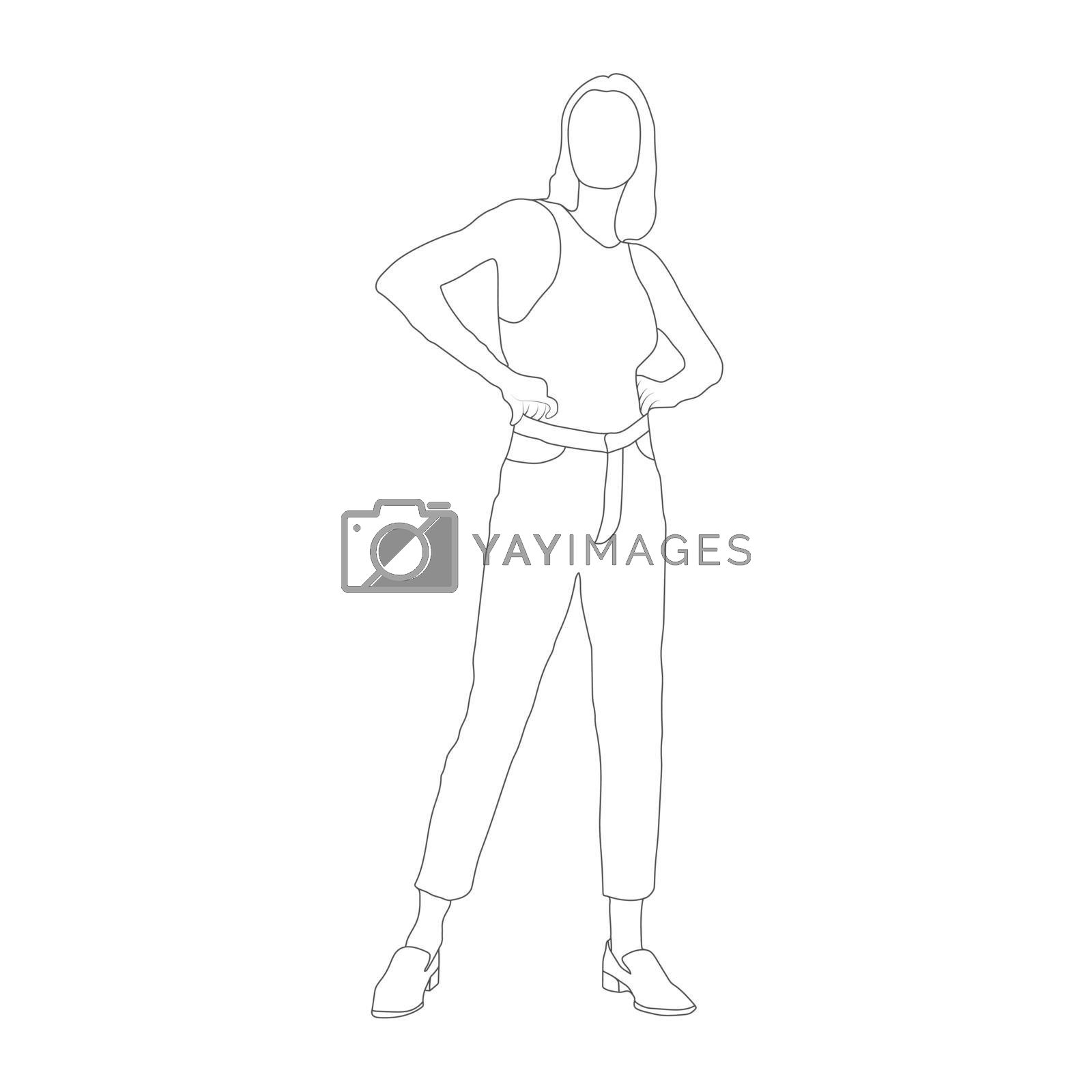 Contoured silhouette of a fashionable girl. Flat Style
