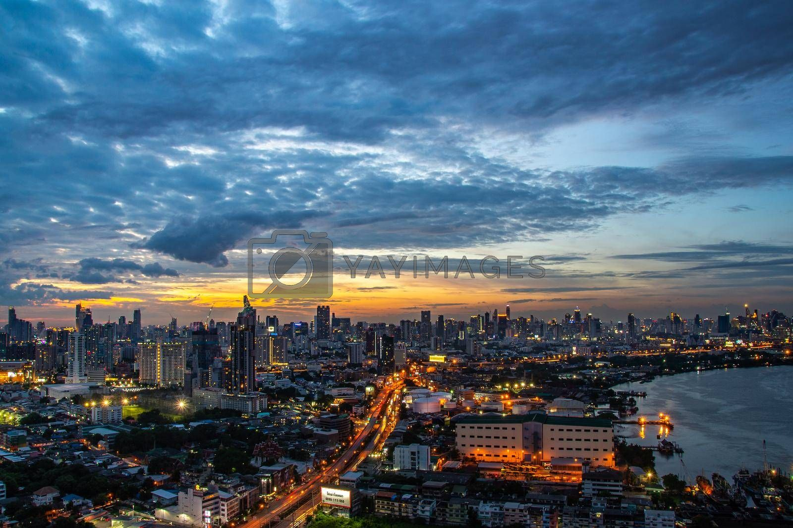 bangkok,Thailand - jul 6, 2019 : Sky view of Bangkok with skyscrapers in the business district in Bangkok along the Chao Phraya Rive in the during beautiful twilight give the city a modern style.