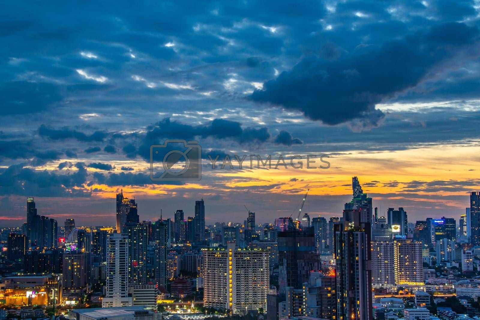 Bangkok, thailand - jul 06, 2019 : Sky view of Bangkok with skyscrapers in the business district in Bangkok in the during beautiful twilight give the city a modern style.