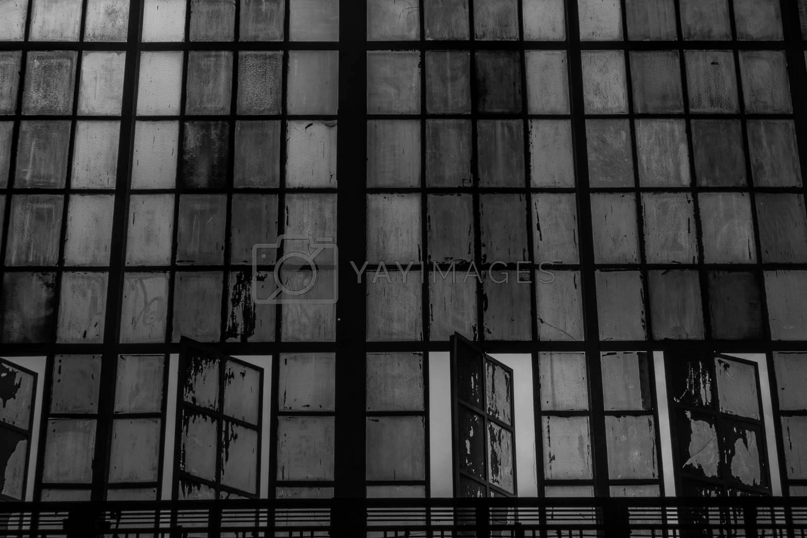 Bangkok, thailand - jun 29, 2019 : Hua Lamphong Railway Station,Bangkok,Thailand, Stained glass, Black and white.