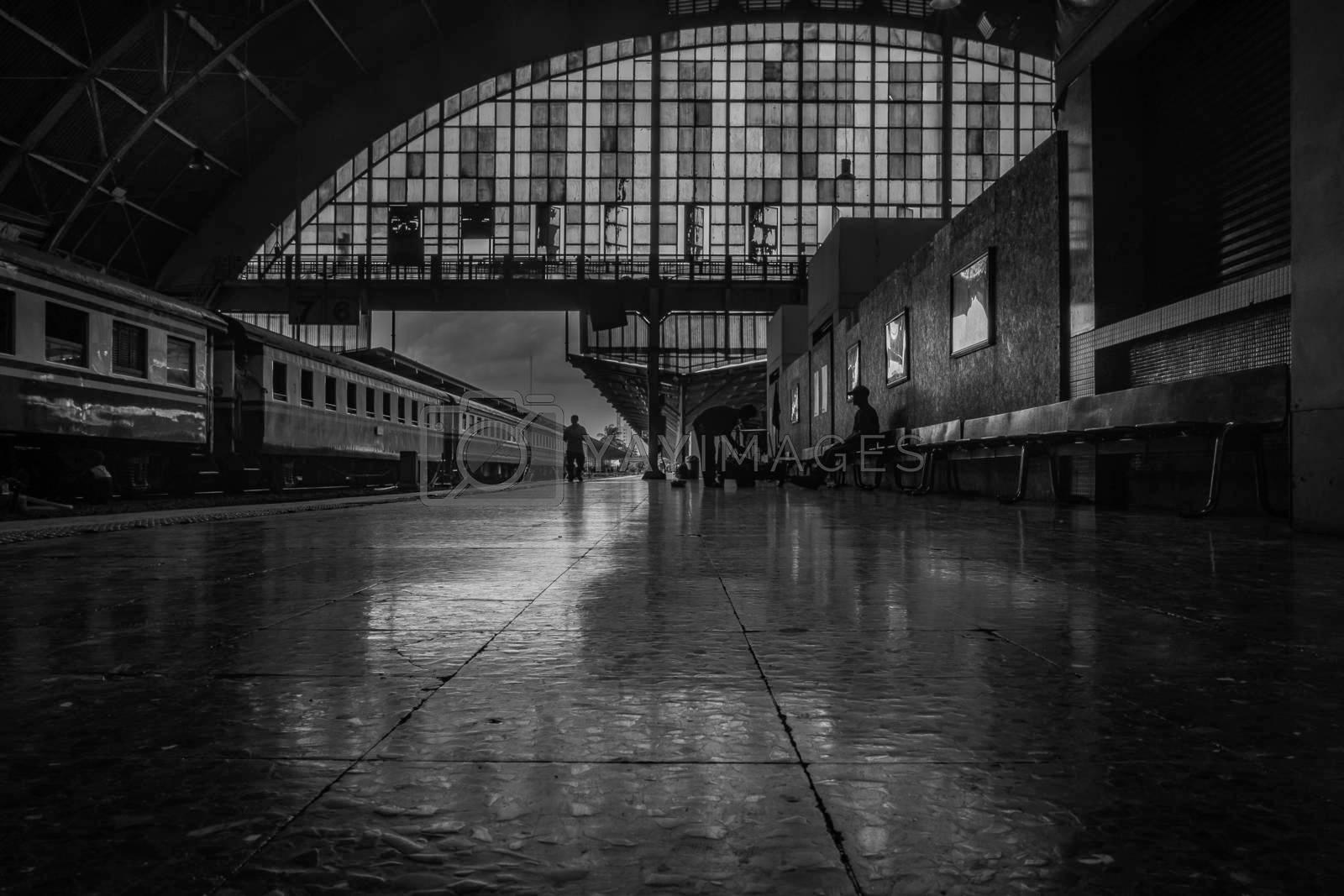 Bangkok, thailand - jun 29, 2019 : Surroundings around Bangkok Railway Station. Bangkok Railway Station or Hua Lamphong Station is the main railway station in Bangkok, Thailand, Black and white.