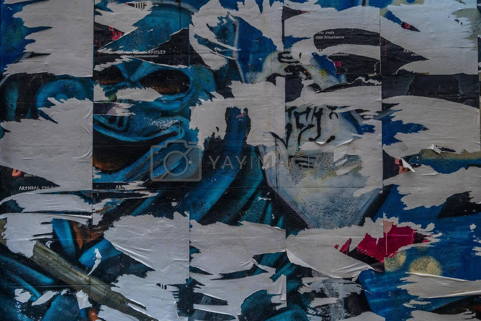 bangkok,Thailand - jun 29, 2019 : Old Urban Street Billboard With Torn Posters And Stickers, Background Or Texture With Copy Space, Toned Image.