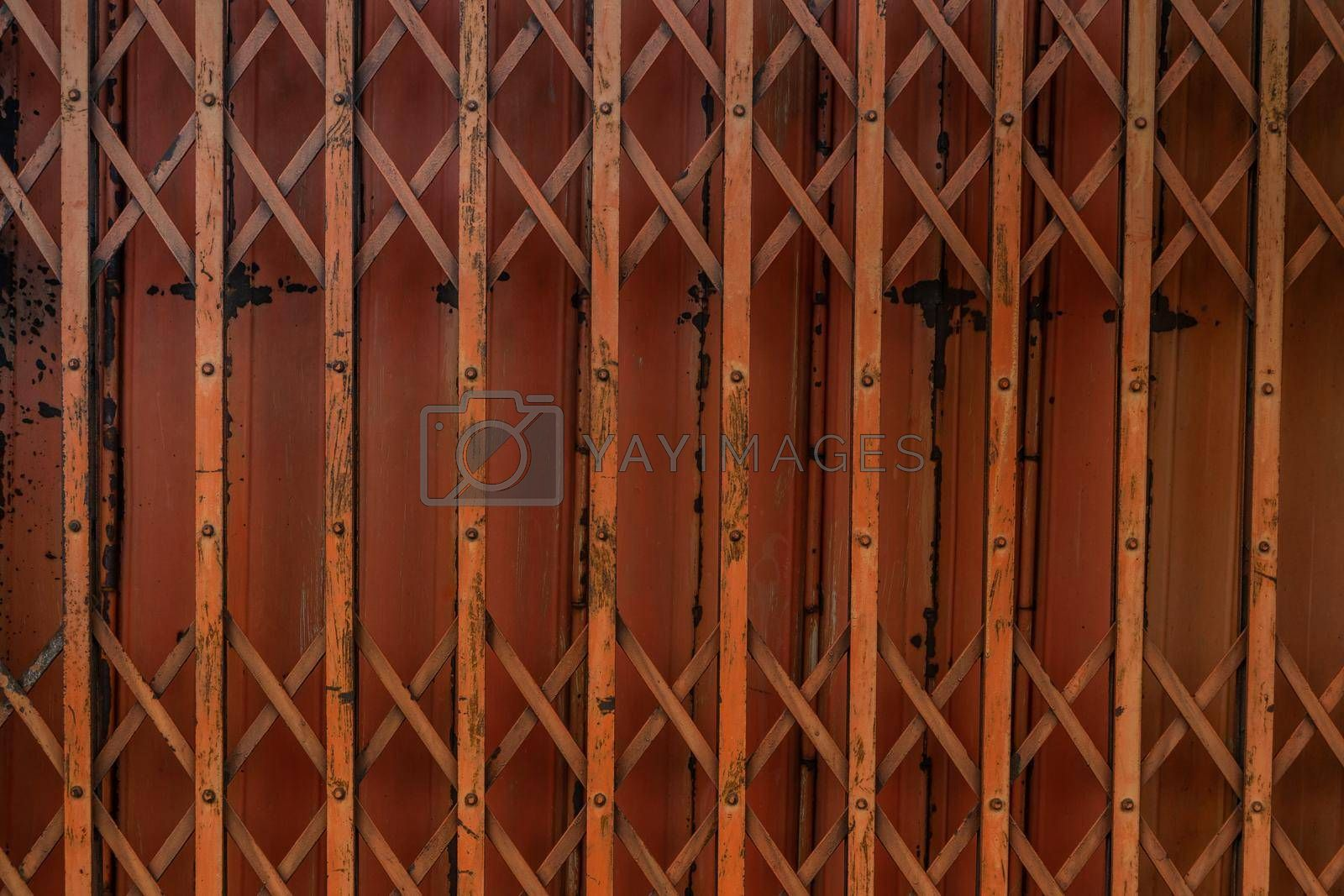 Ancient iron orange doors are very rusty for background, Steel folding gates, thailand, Vector illustration.