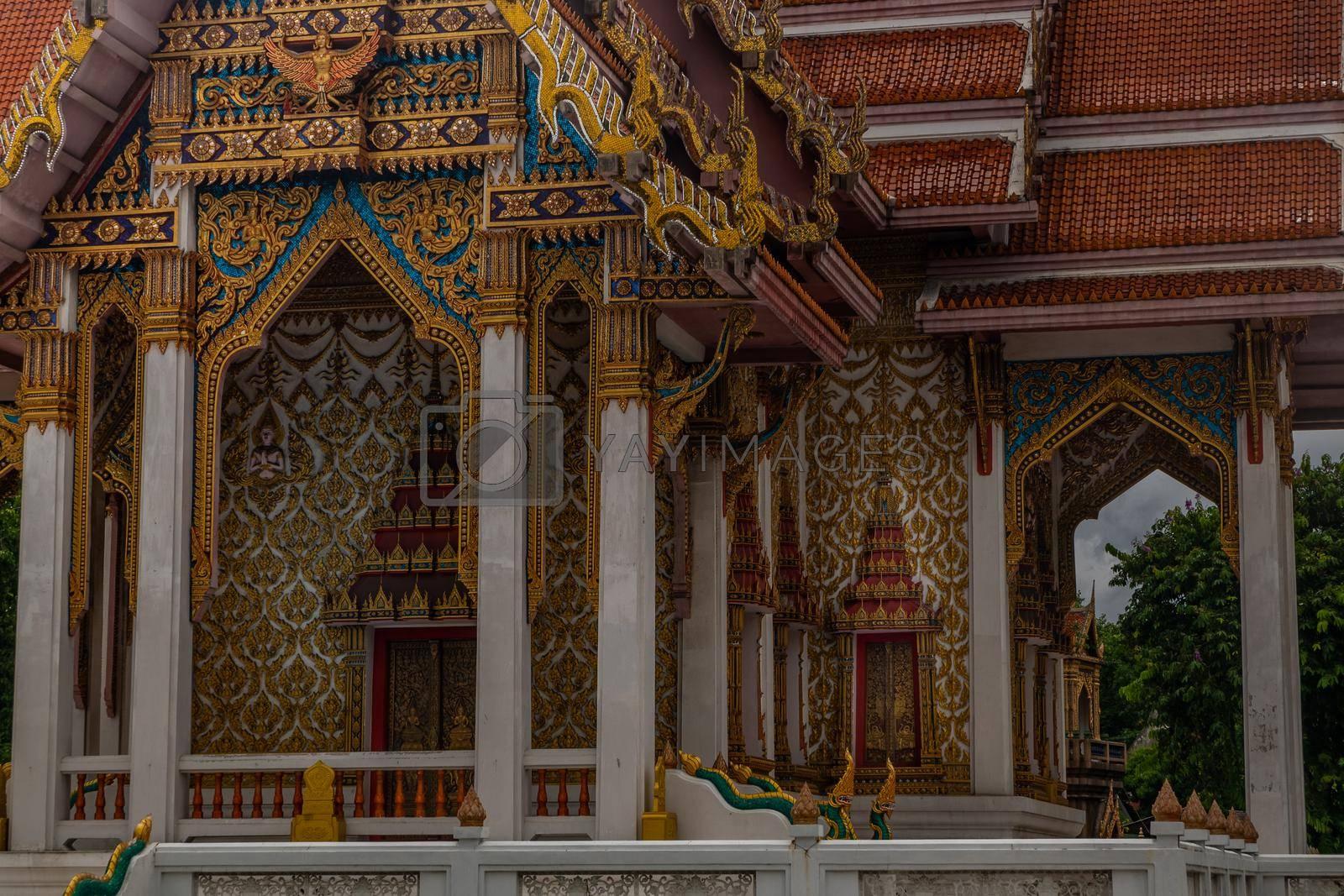 Bangkok, thailand - jun 29, 2019 : Beautiful architecture of chong Nonsi buddhist temple (Wat Chongnonsi) in rama3 road.