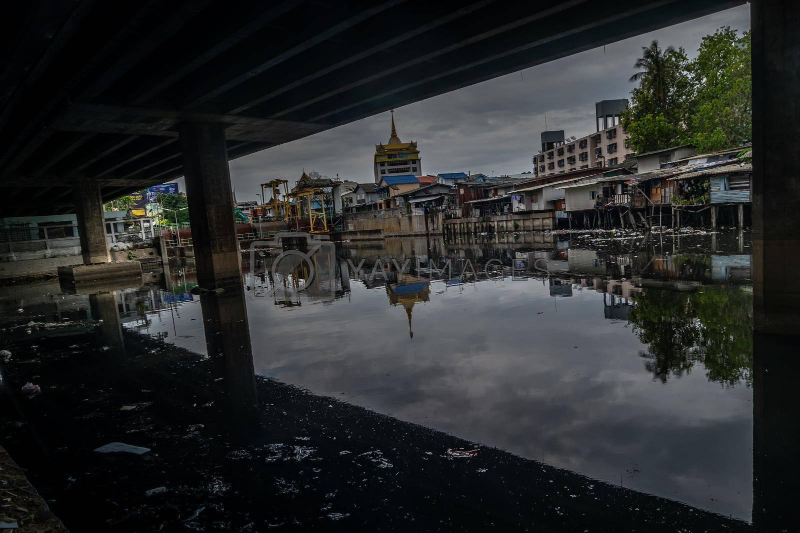 bangkok,Thailand - jun 30, 2019 : Traditional old house on Khlong Phra Khanong and near the expressway