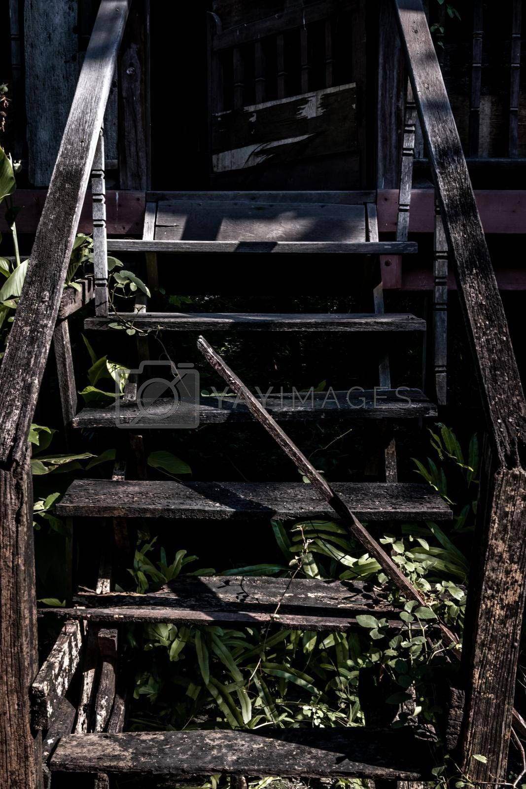 Traditional Thai style wooden staircase, The traditional house, Light and Shadow.