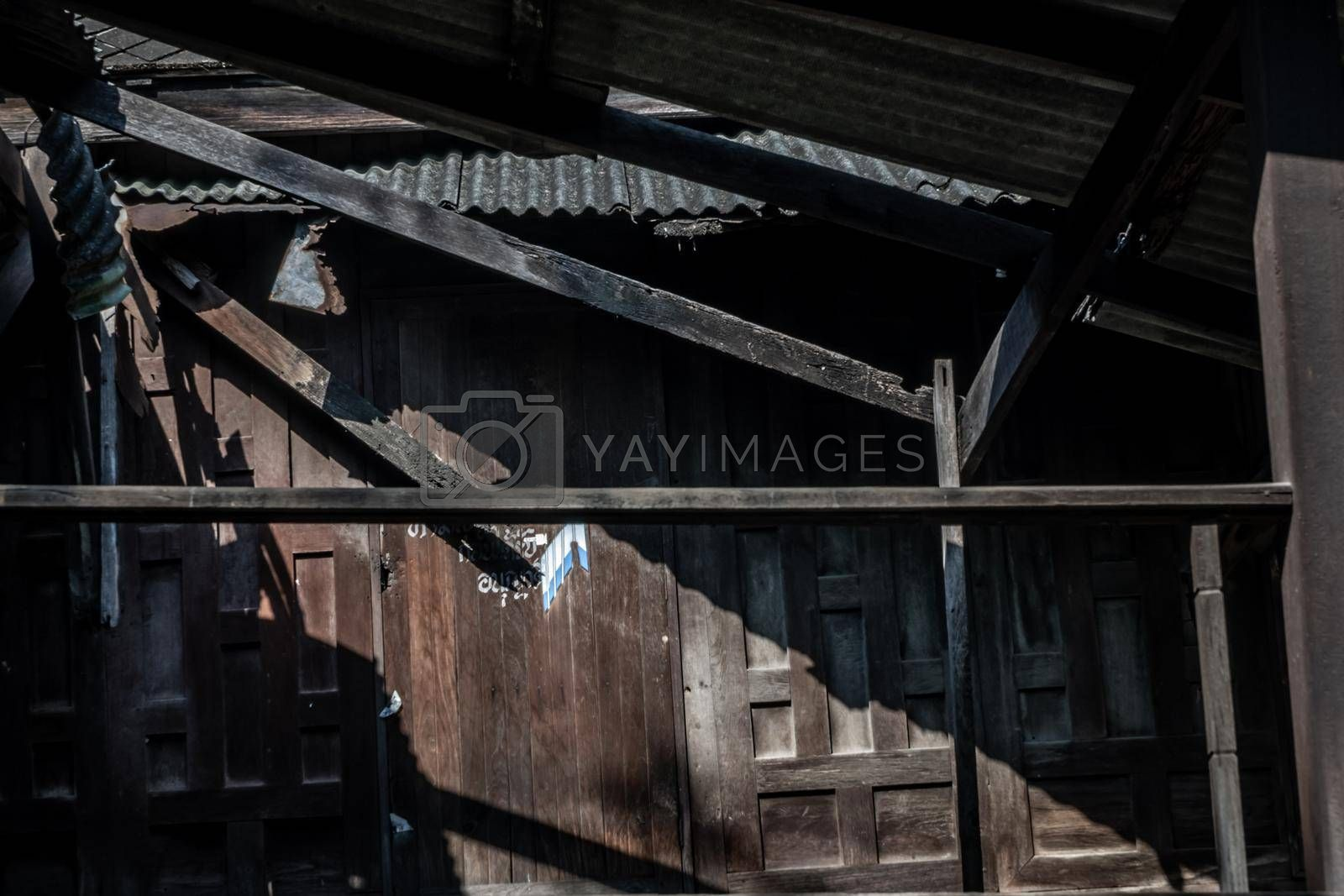 Ruins of old thai traditional house, Light and Shadow.