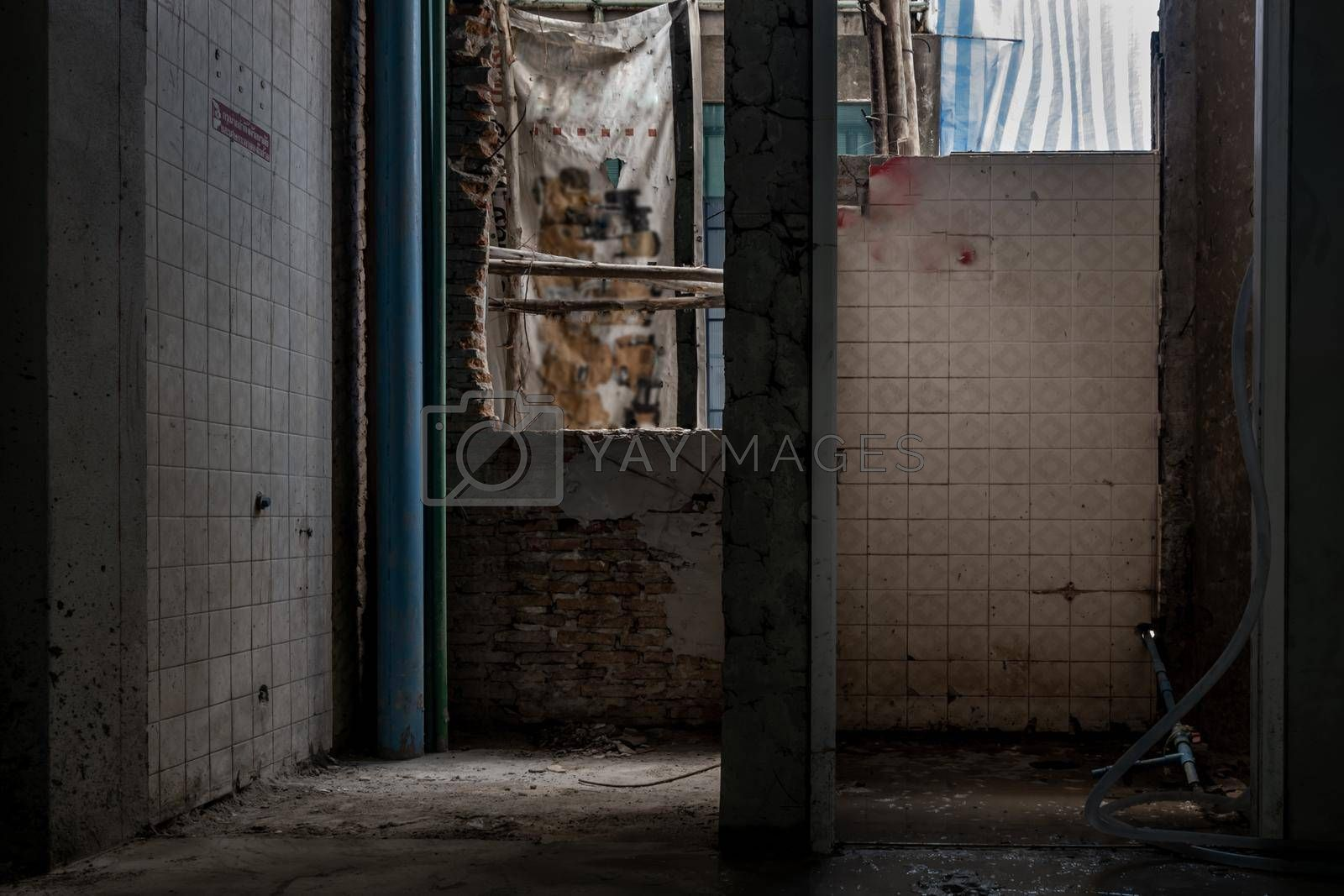Old abandoned building interior that is being renovated. commercial building