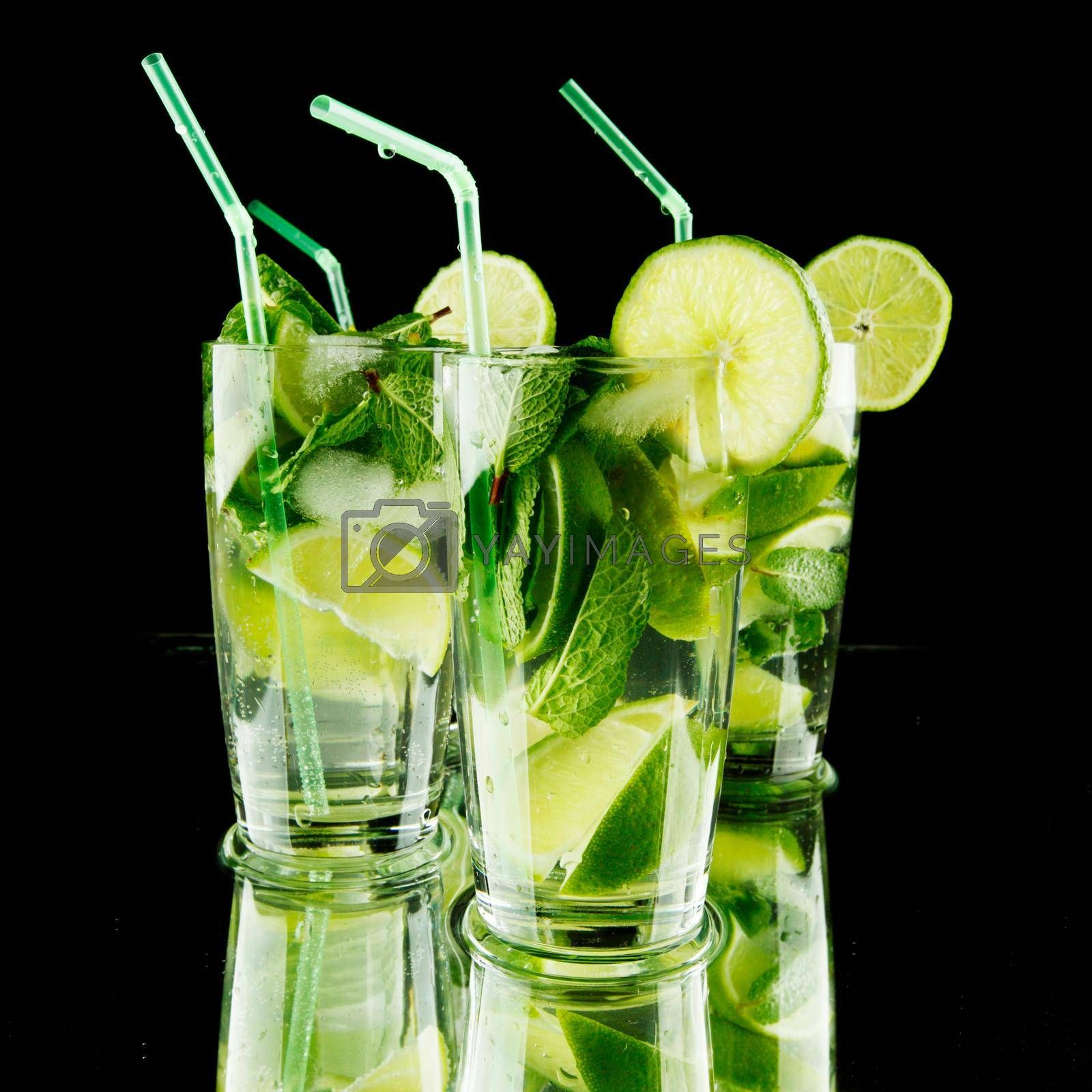 Royalty free image of Mojito cocktails on black by Yellowj