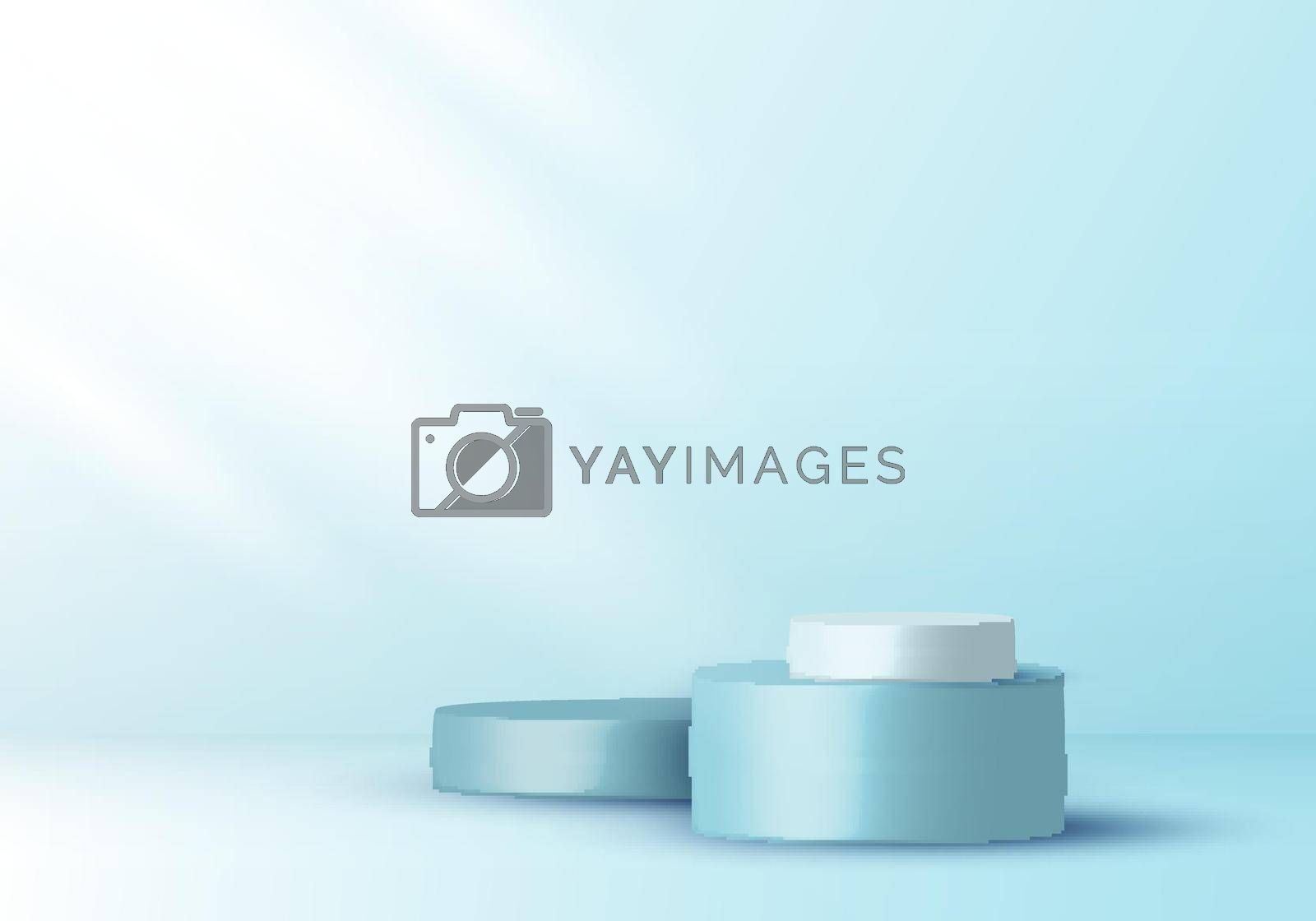 Royalty free image of 3D realistic elegant display blue and white cylinder pedestal podium on soft blue color studio room background by phochi