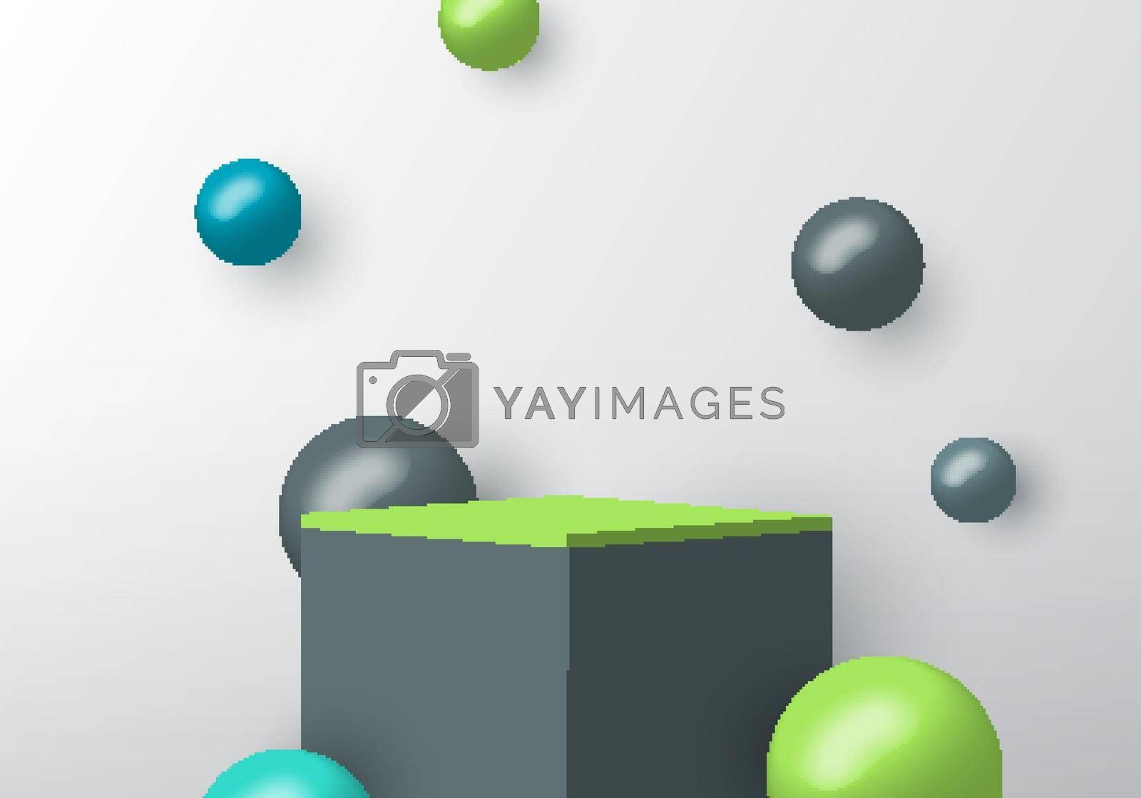 Royalty free image of 3D realistic gray and green square podium for your product showcase with sphere ball decoration on white background by phochi