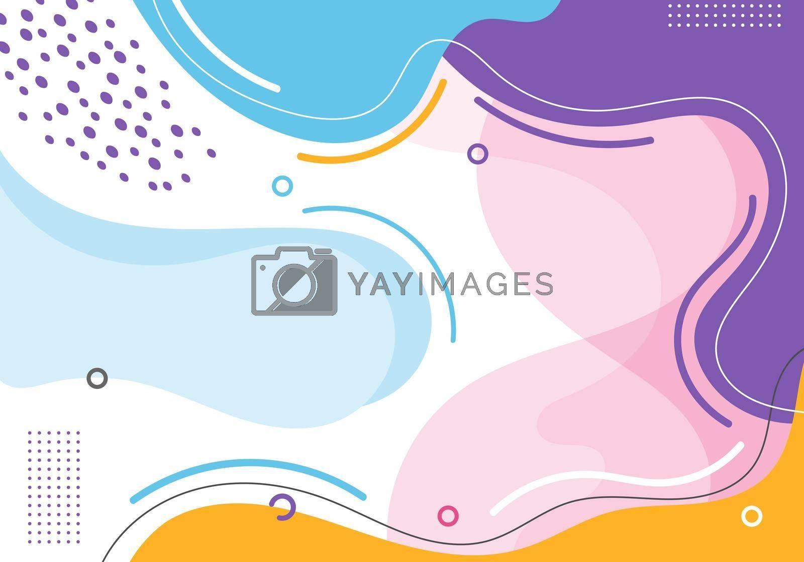 Royalty free image of Banner web template abstract hand drawn pink, blue, yellow, purple color organic fluid shape with circle line pattern on white background by phochi