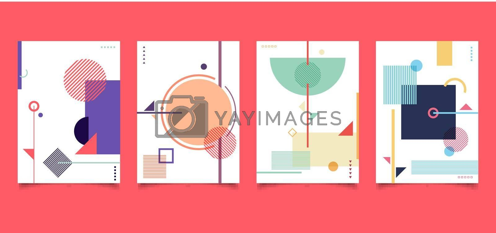 Royalty free image of Set of cover brochure minimal style abstract colorful geometric pattern on white background by phochi