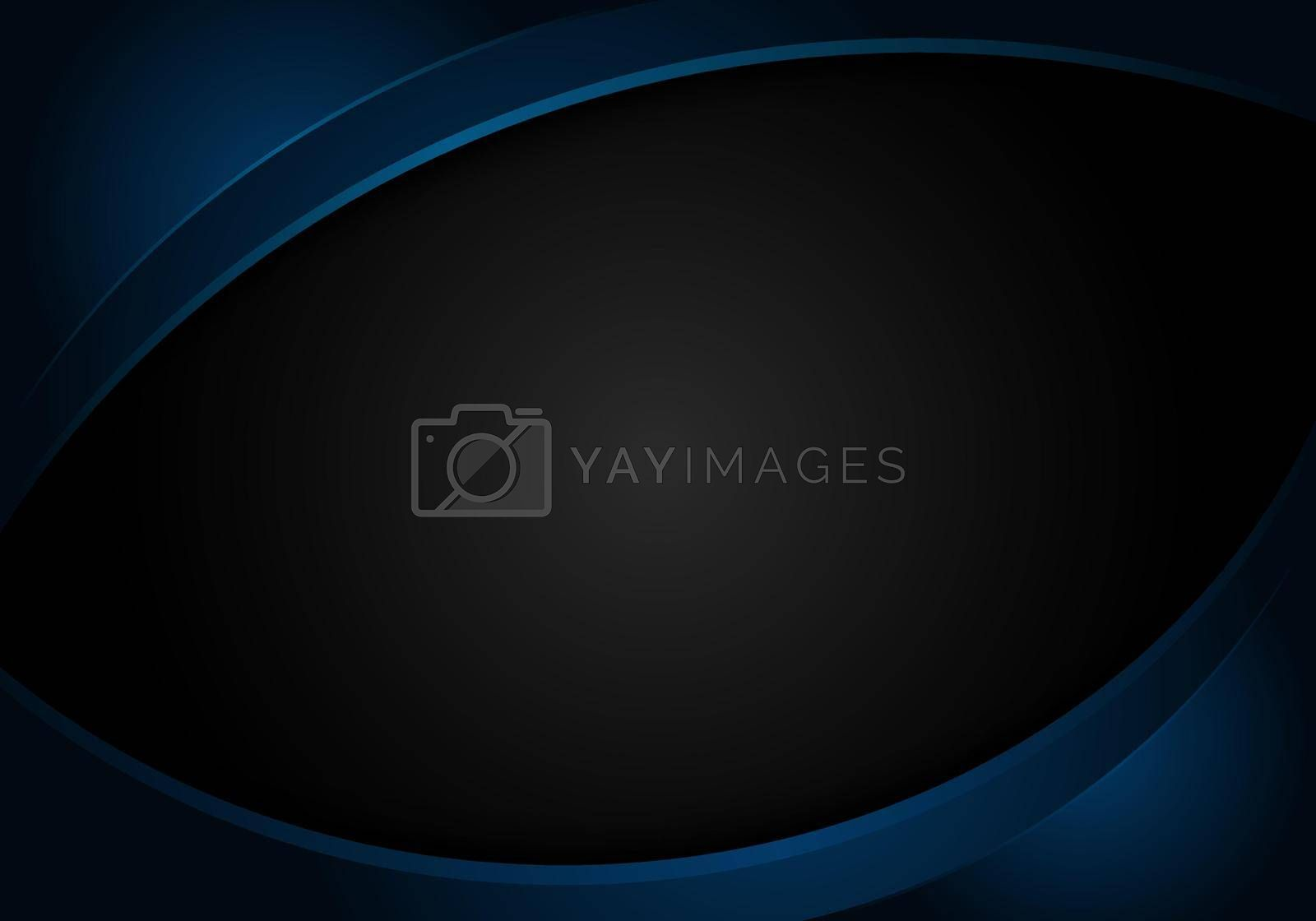 Royalty free image of Abstract blue shiny curve shape on black background corporate design template by phochi