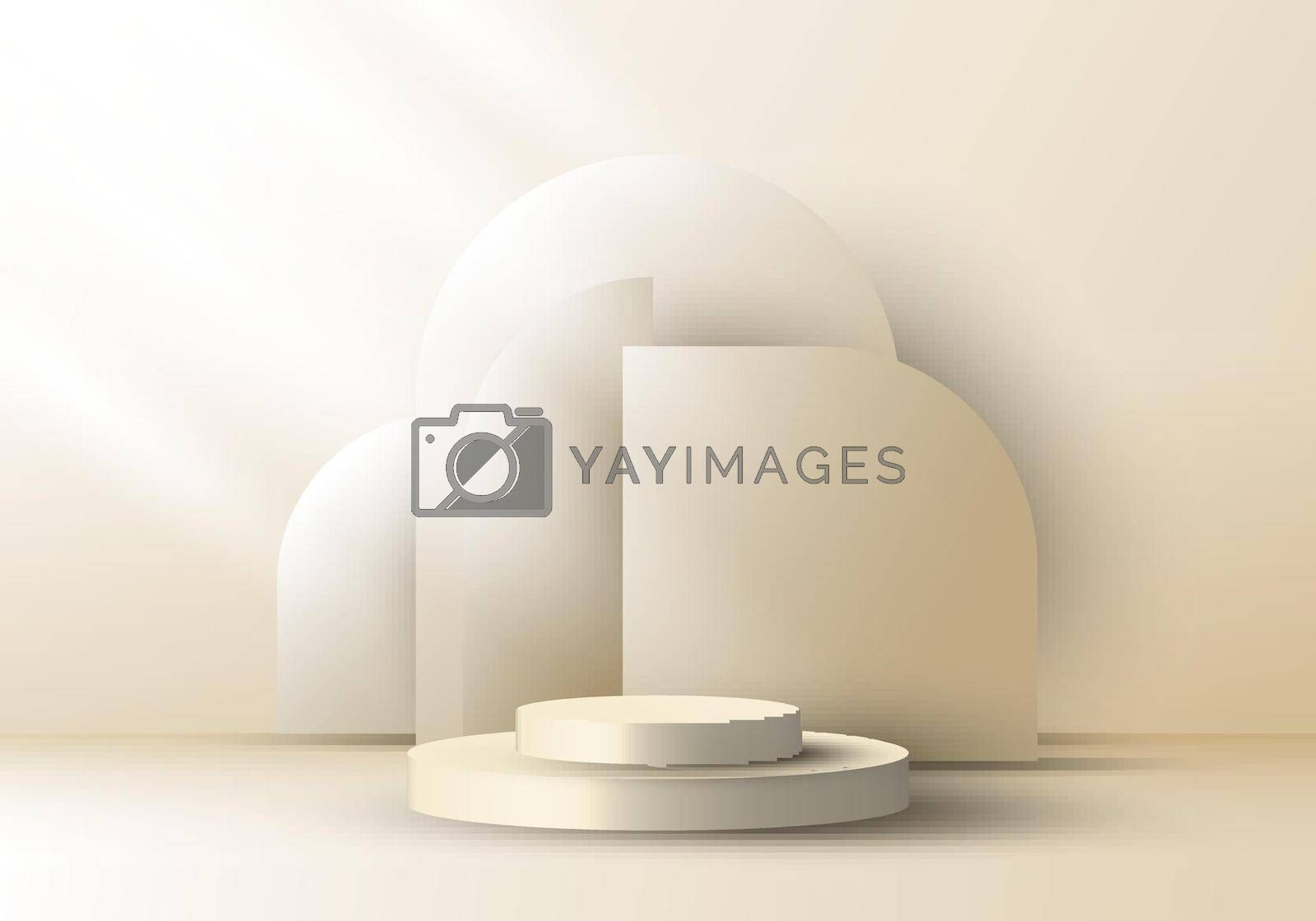 Royalty free image of 3D realistic elegant brown cylinder on layers rounded backdrop on beige background by phochi