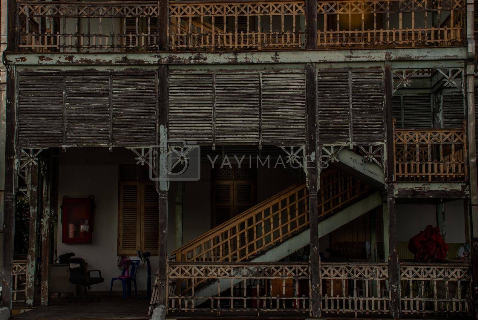 Nonthaburi, Thailand - JUL 21,2019 :  View of old city hall, European style building. The vintage white wooden house was left to deteriorate over time, Once be Former city hall. Established on 1548, is tranformed to be the museum of Nonthaburi in 2009.