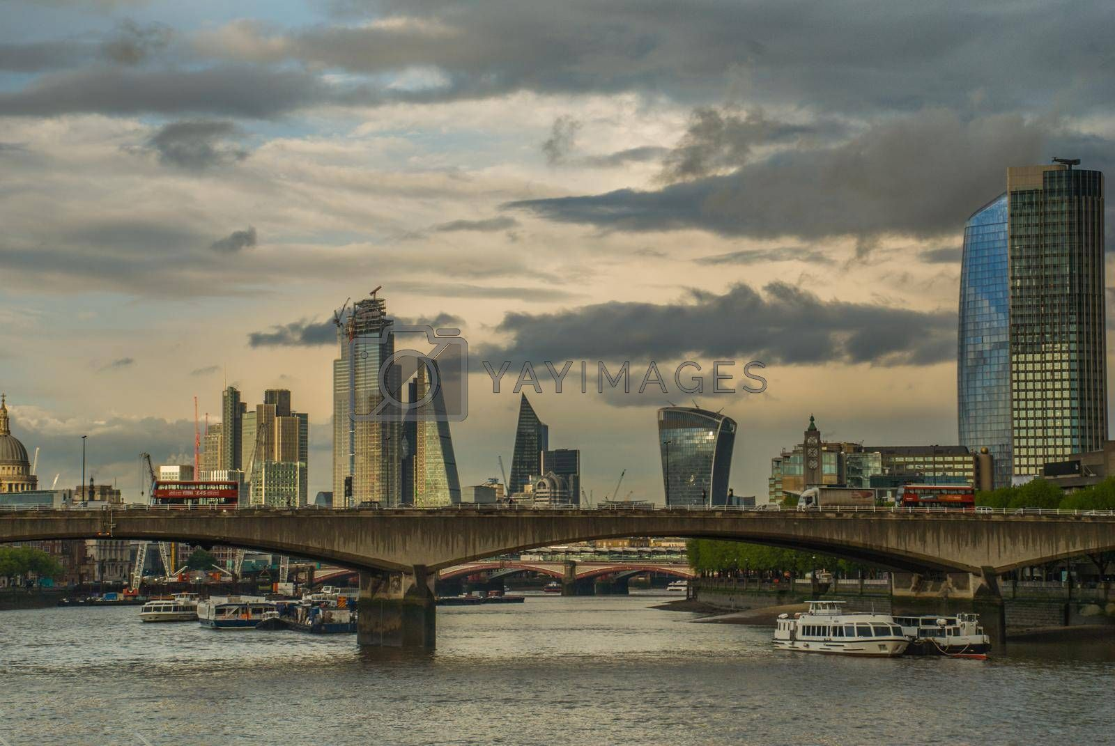 London, United Kingdom - April 17, 2019: London skyscrapers along the River Thames make the city a modern style.