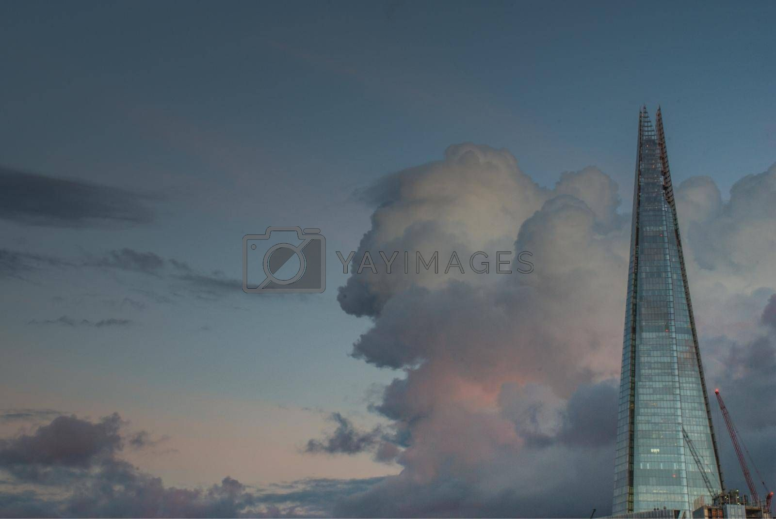 London, United Kingdom - April 17, 2019 : London and Shard, which is the tallest building in the city There is a backdrop of beautiful sky and clouds.