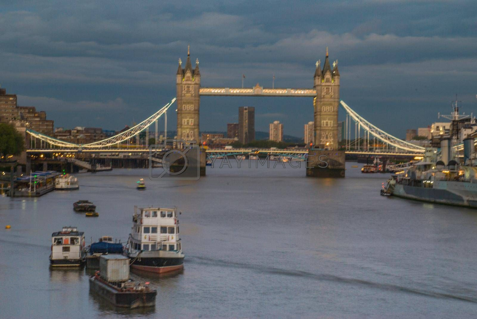 Financial District of London and the Tower Bridge in London