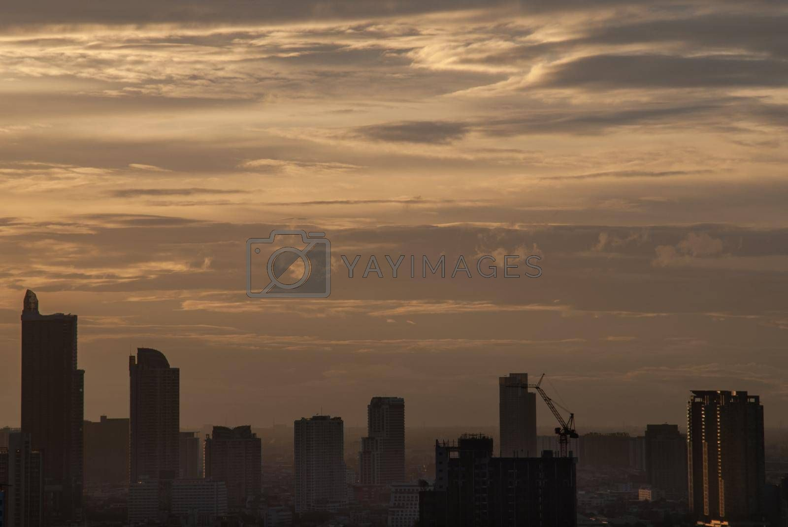 Sunset and city skyline filled with skyscrapers in Bangkok's business district. central business district concepts.