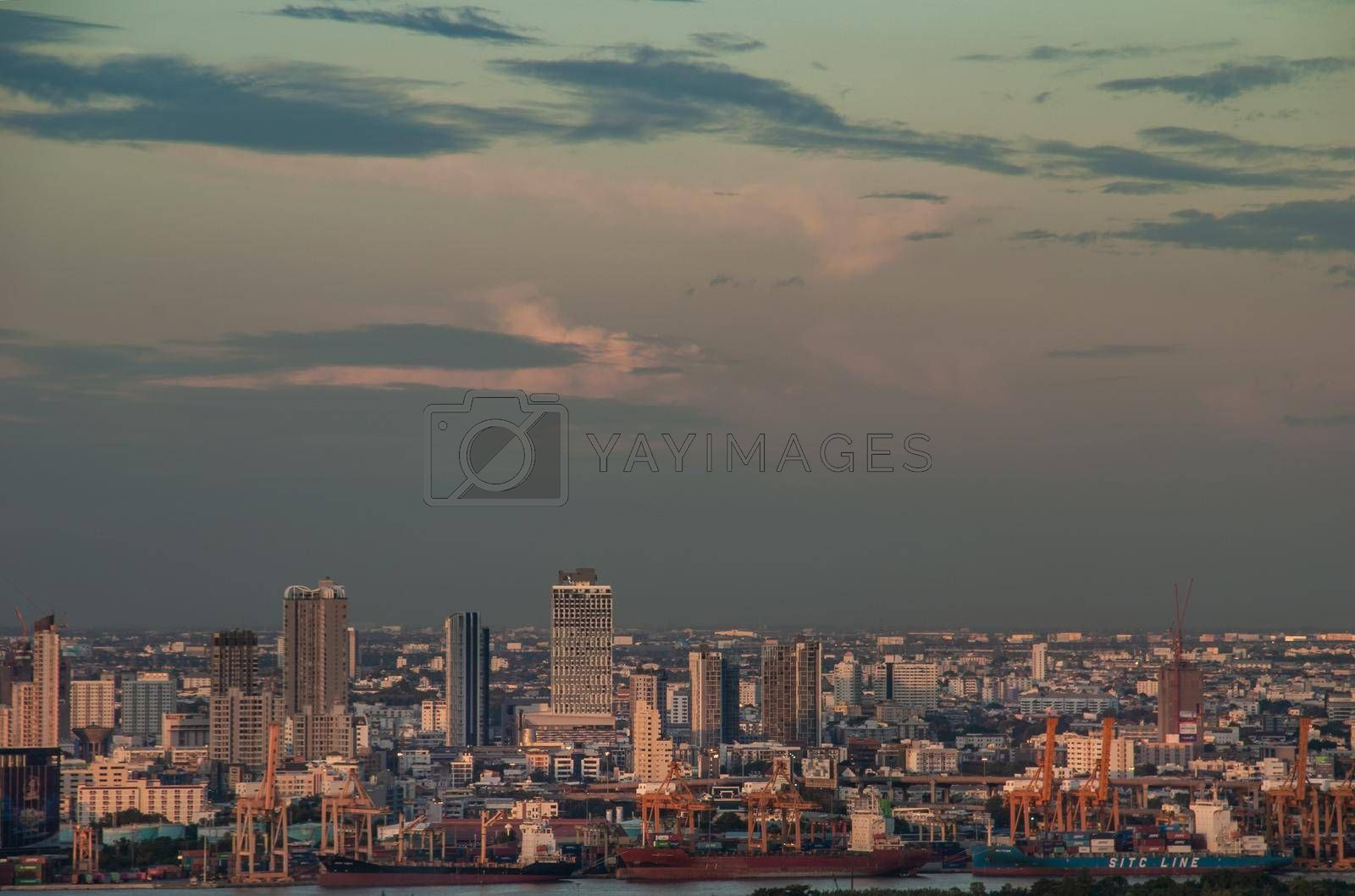 Bangkok, Thailand - 27 Aug, 2019 : Beautiful view of Bangkok city, Beauty skyscrapers along Chaopraya river in the evening, making the city modern style. Copy space.