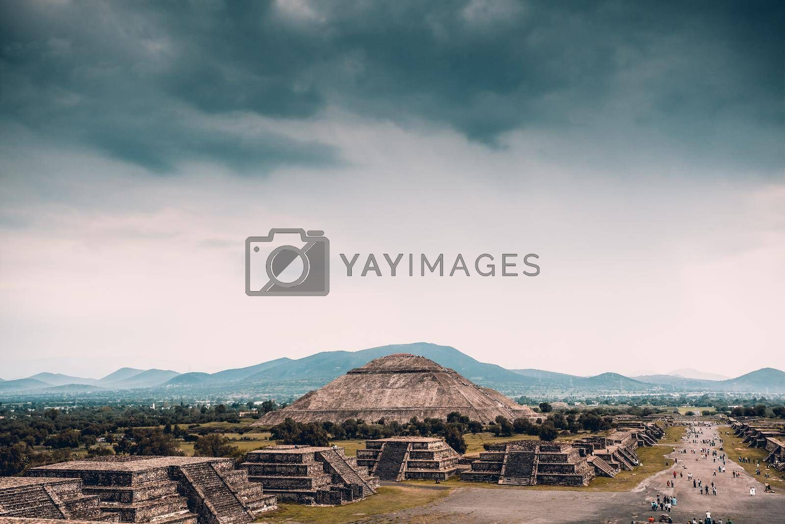 Beautiful Scene of an Ancient Ruins of Maya Pyramids. Pyramids of the Sun and the Moon. Old Aztec Civilization. Touristic Place. Teotihuacan. Mexico.
