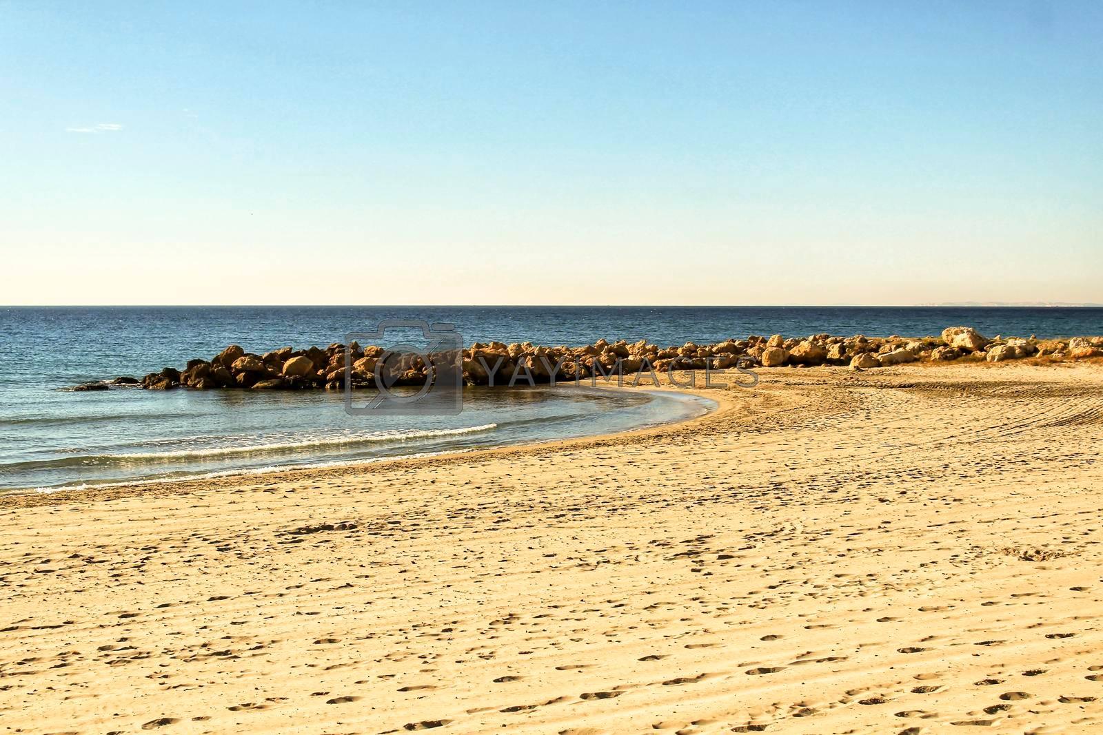 Beach in the morning in Southern Spain, Santa Pola, Alicante