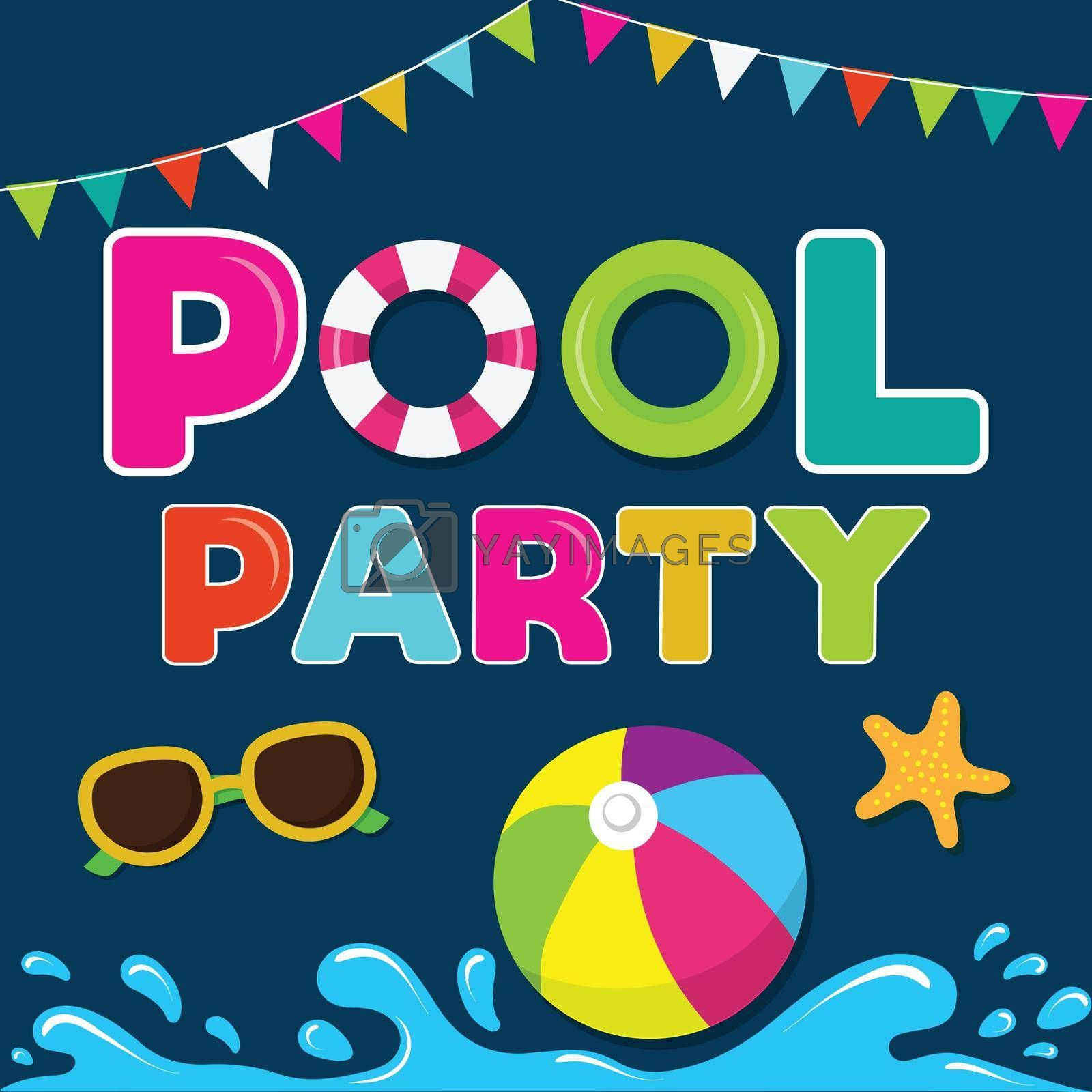 Royalty free image of funny summer banner. Pool party by balasoiu