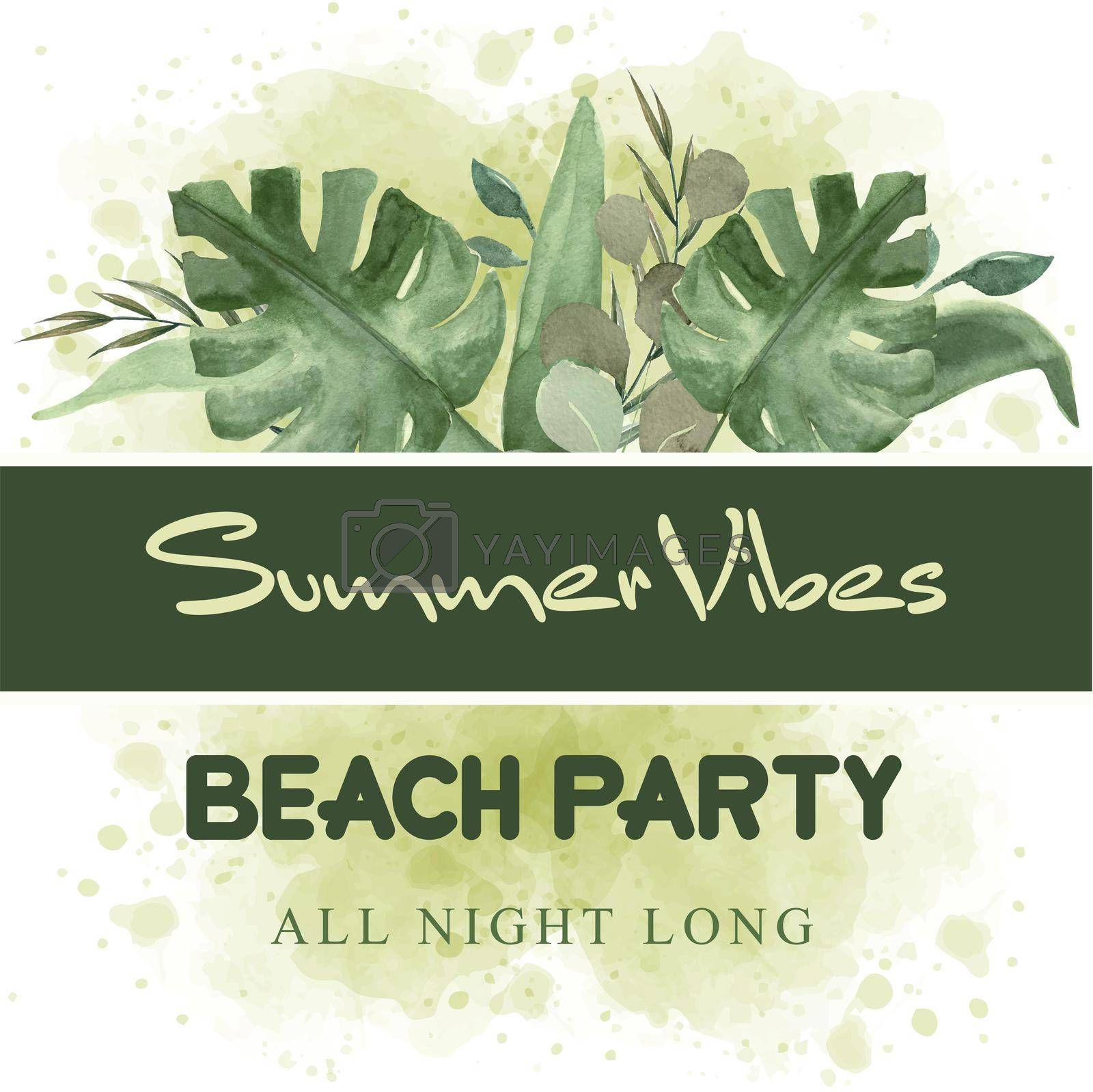 watercolor summer banner with tropical leaves. Beach party banner