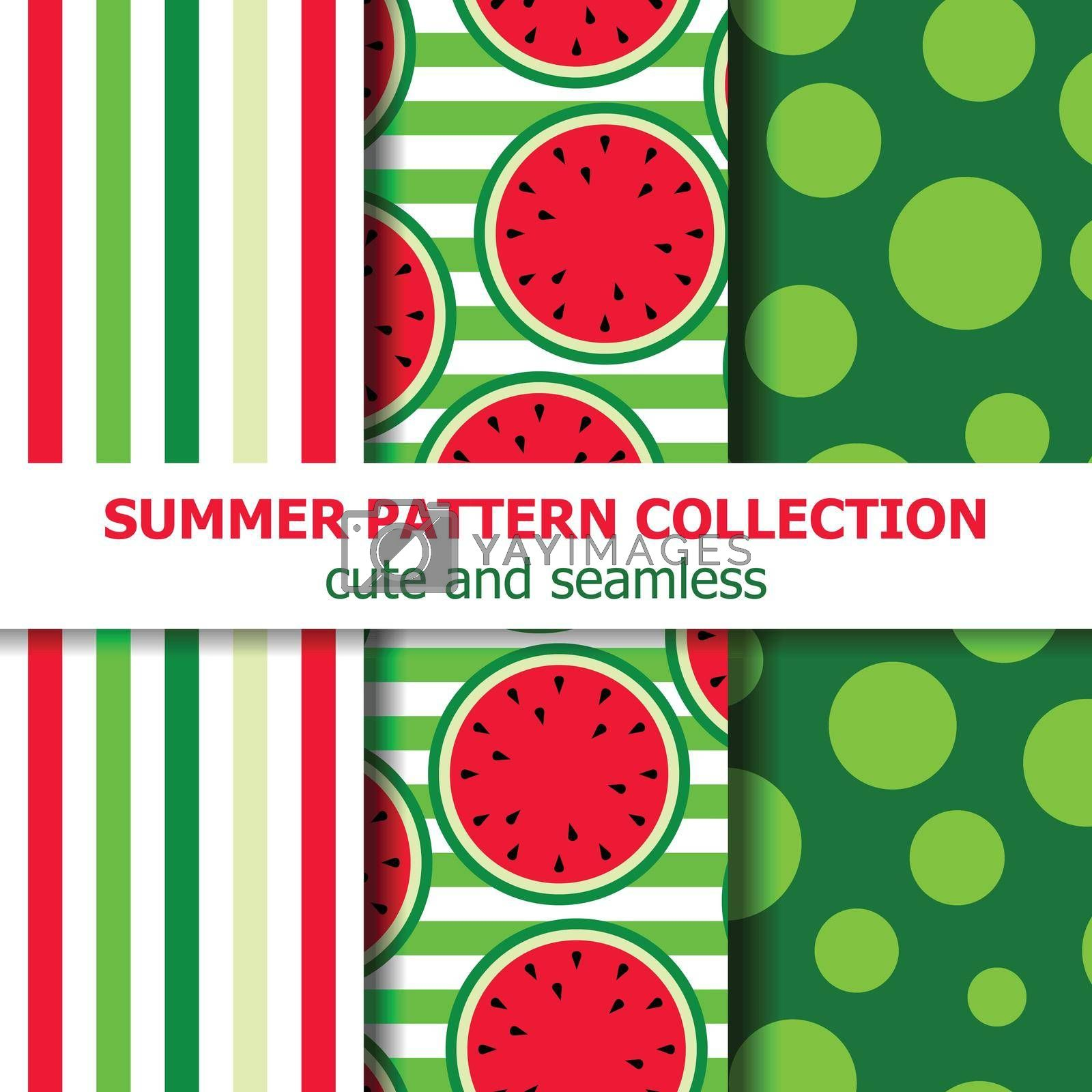 Delicious summer pattern collection. Watermelon theme. Summer banner. Vector