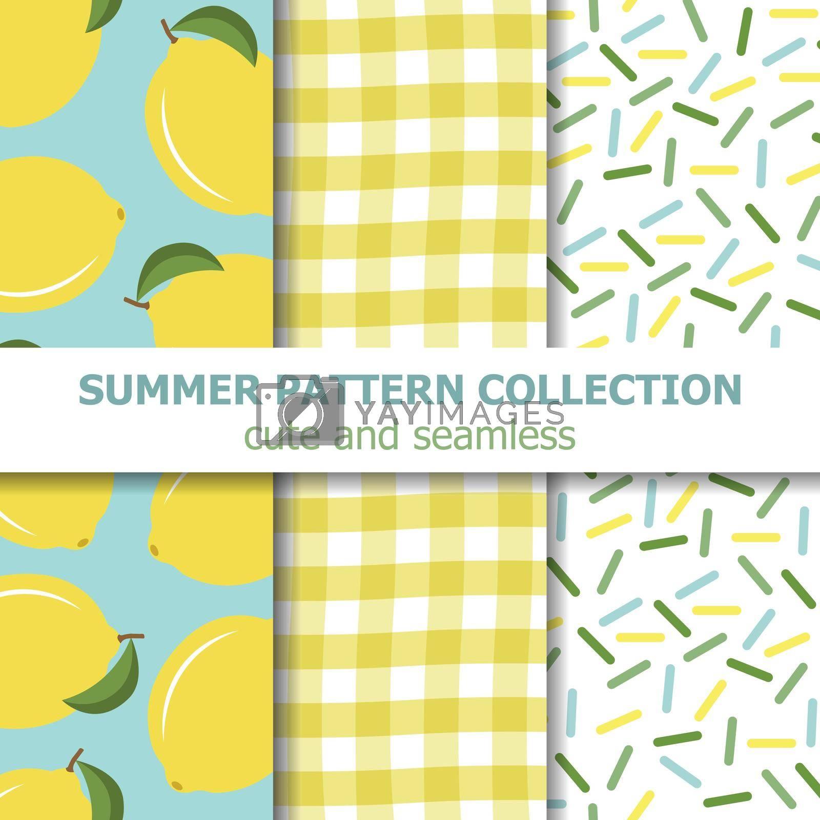 summer pattern collection. Lemon theme. Summer banner. Vector