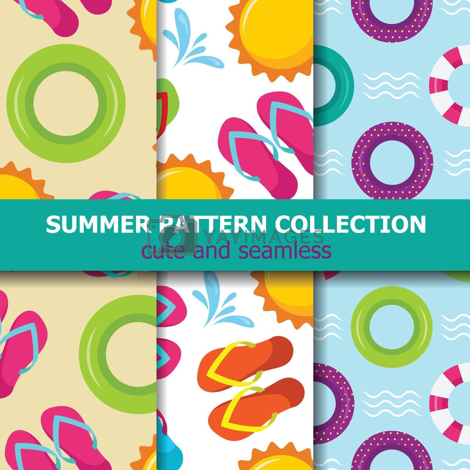 Joyfull summer pattern collection. Beach theme. Summer banner. Vector