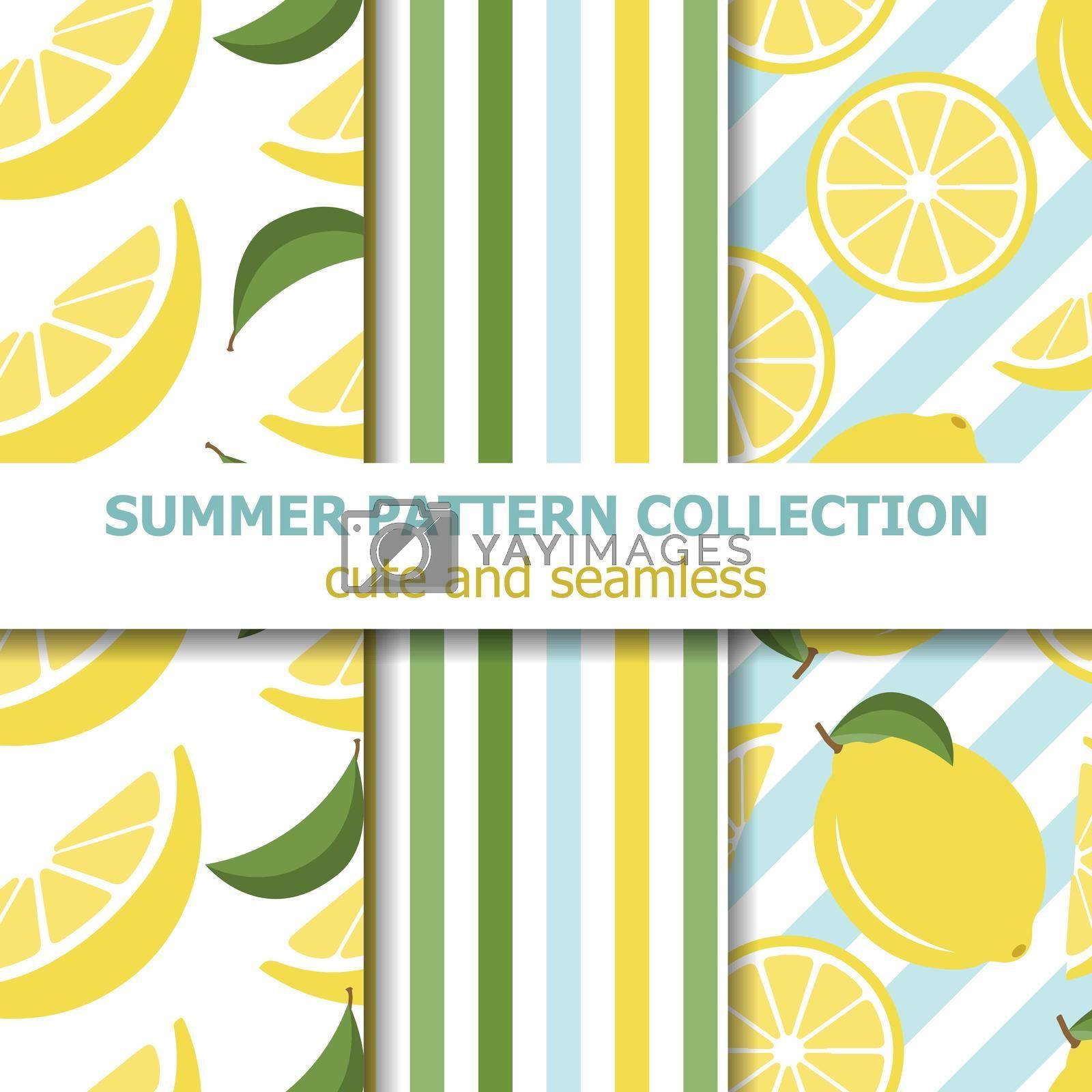 Juicy summer pattern collection. Lemon theme. Summer banner. Vector