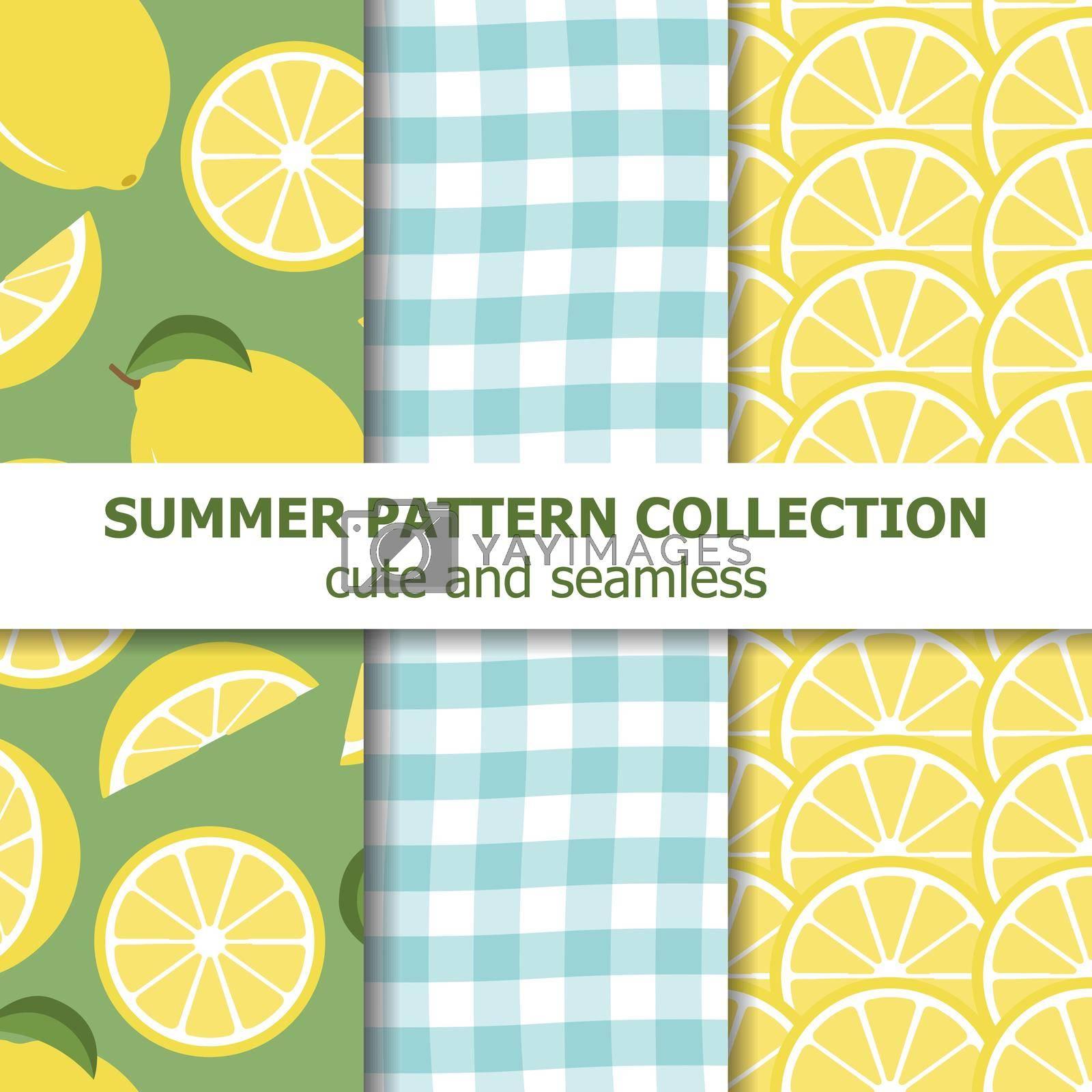 Cute summer pattern collection. Lemon theme. Summer banner. Vector