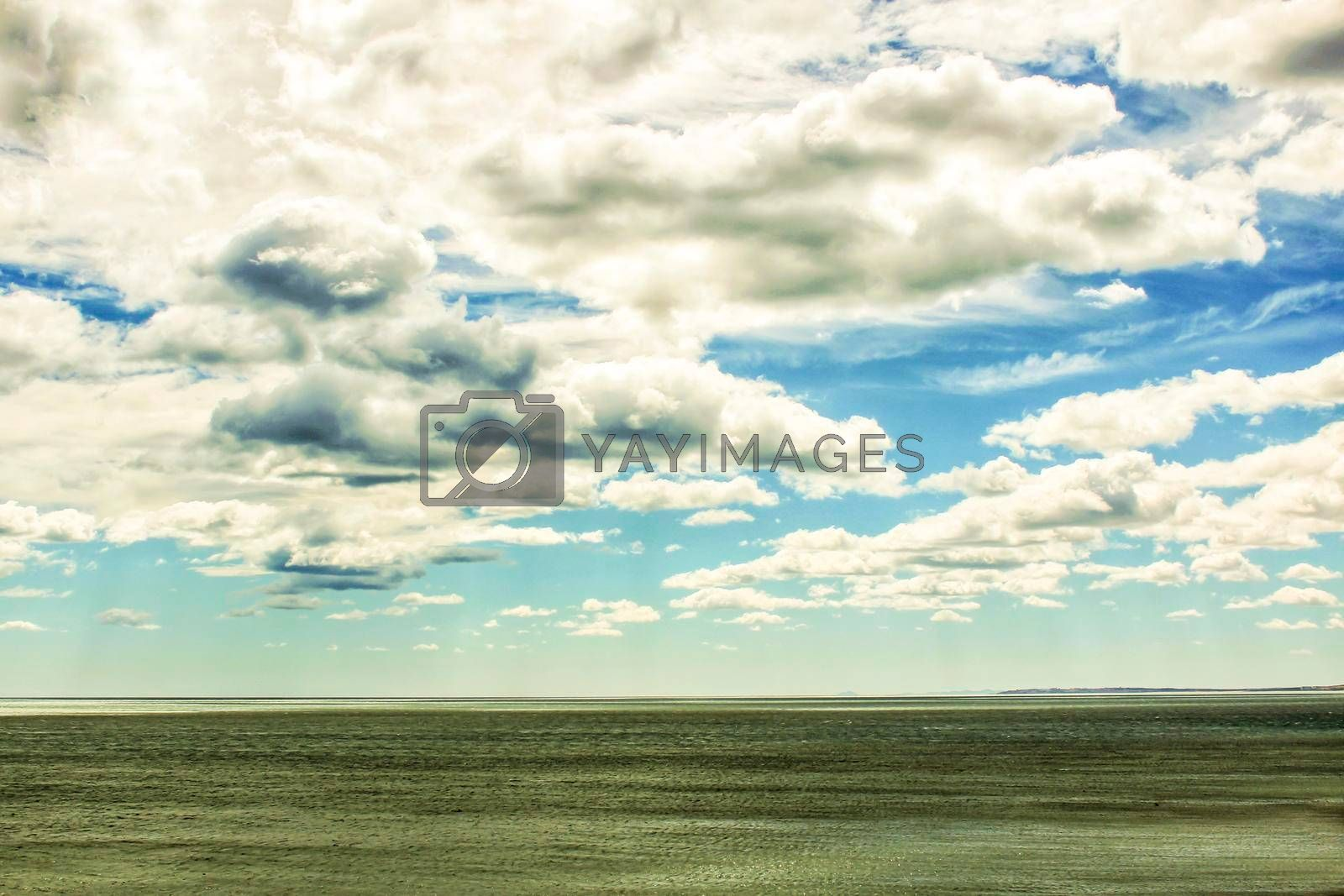 Beach and cloudy sky in the morning in Santa Pola, a small fishing village in southern Spain