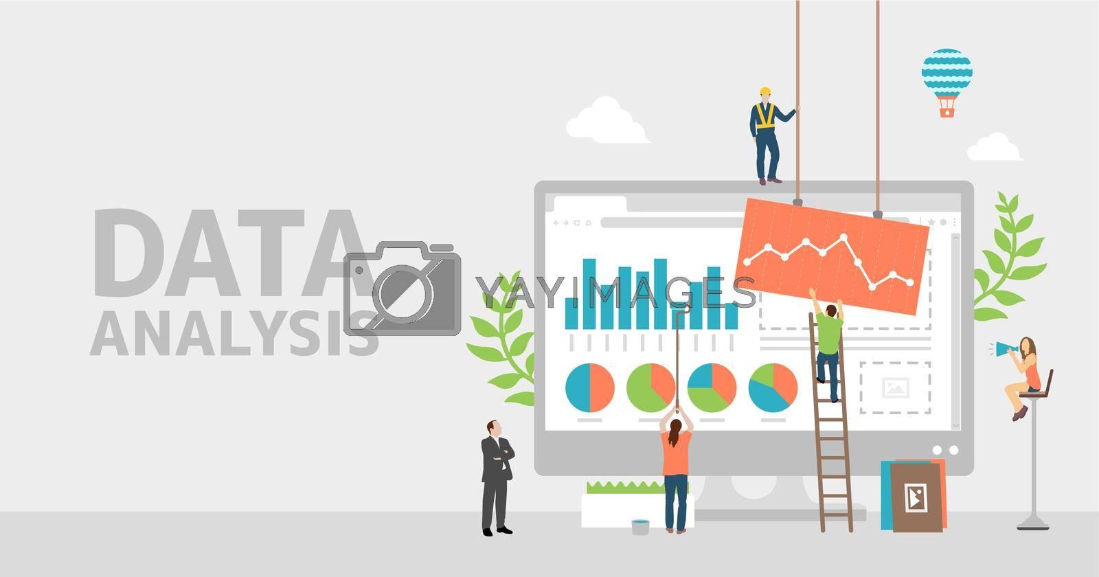 Data analysis concept vector banner illustration
