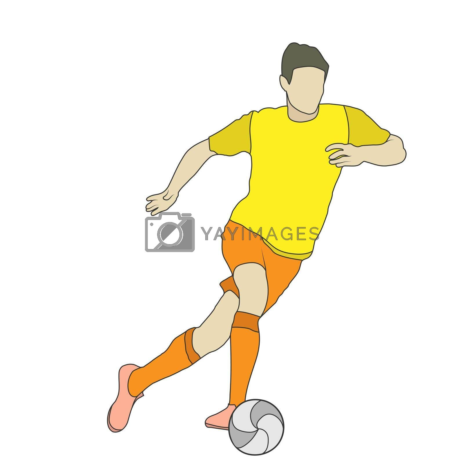 Football. Colored silhouette of a football player. An athlete plays football. Flat Style