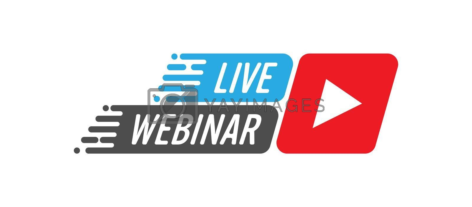Live webinar vector icon. The icon with the play button. Flat Style