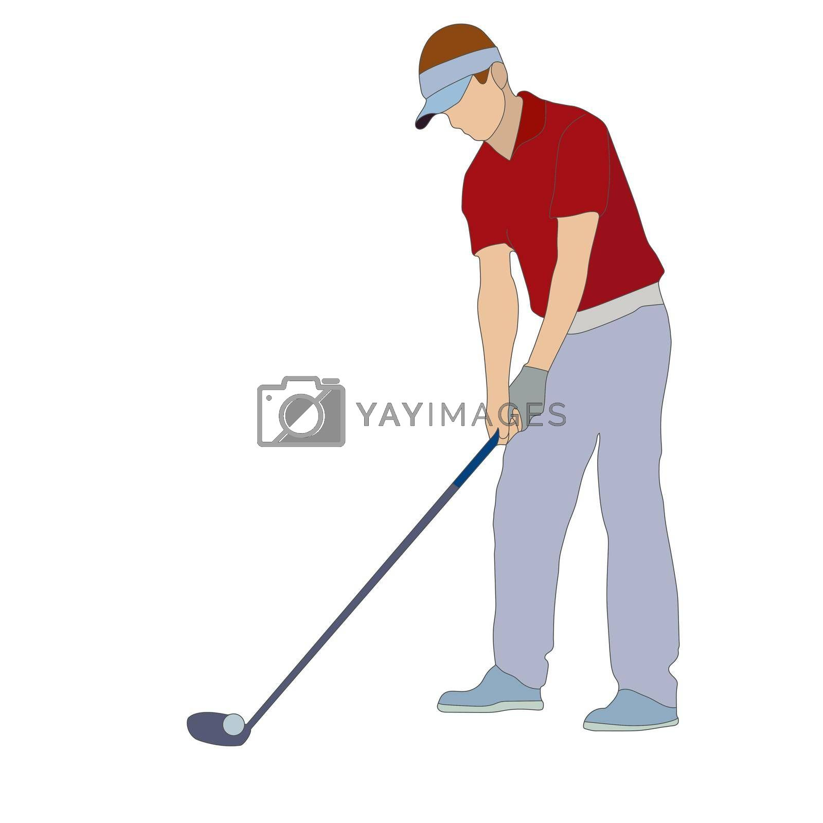 Golf. Colored silhouette of a man, a golfer. Color sports silhouette. Flat Style