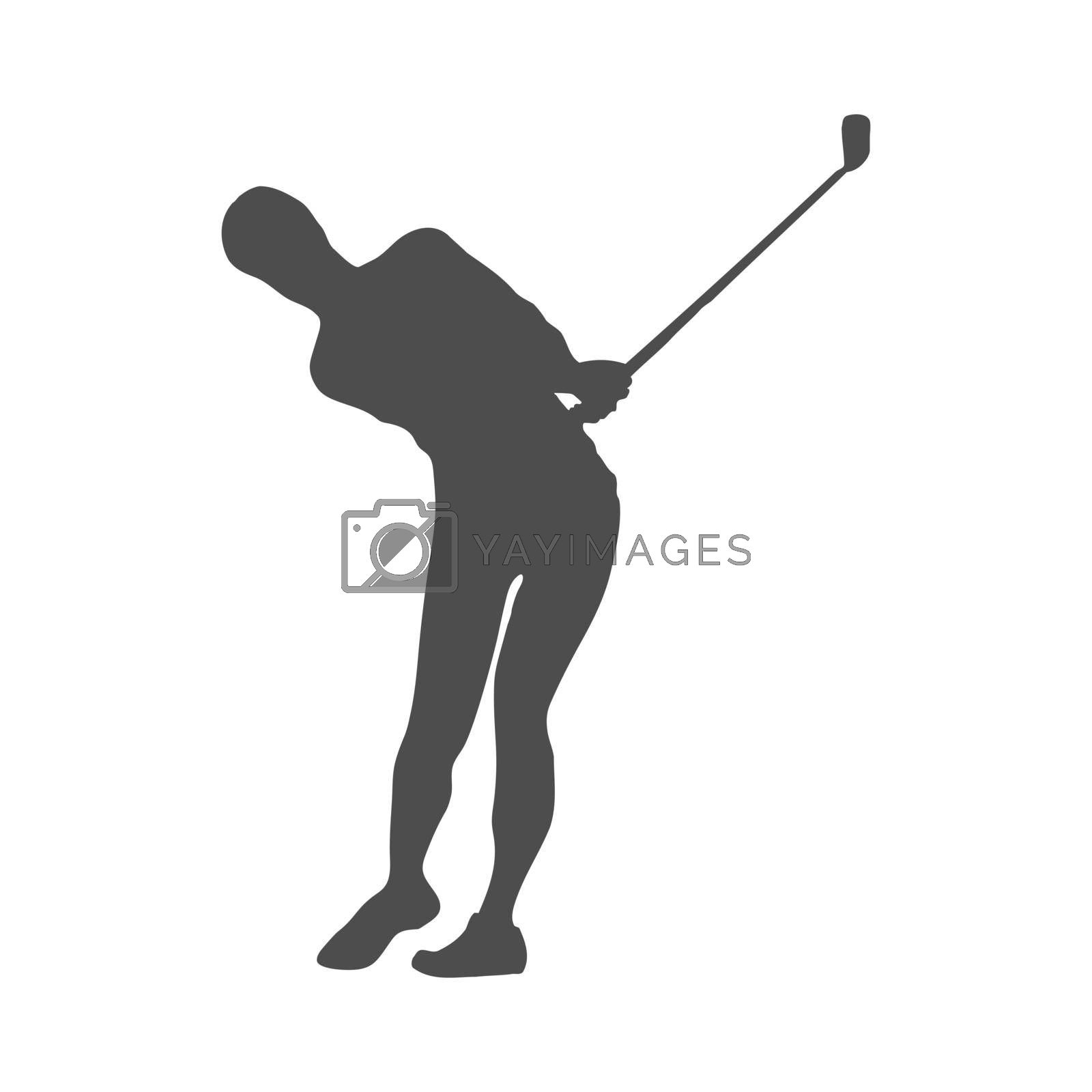 Royalty free image of Golf. Solid silhouette of a man, a golfer. Silhouette of a golfer athlete by Grommik