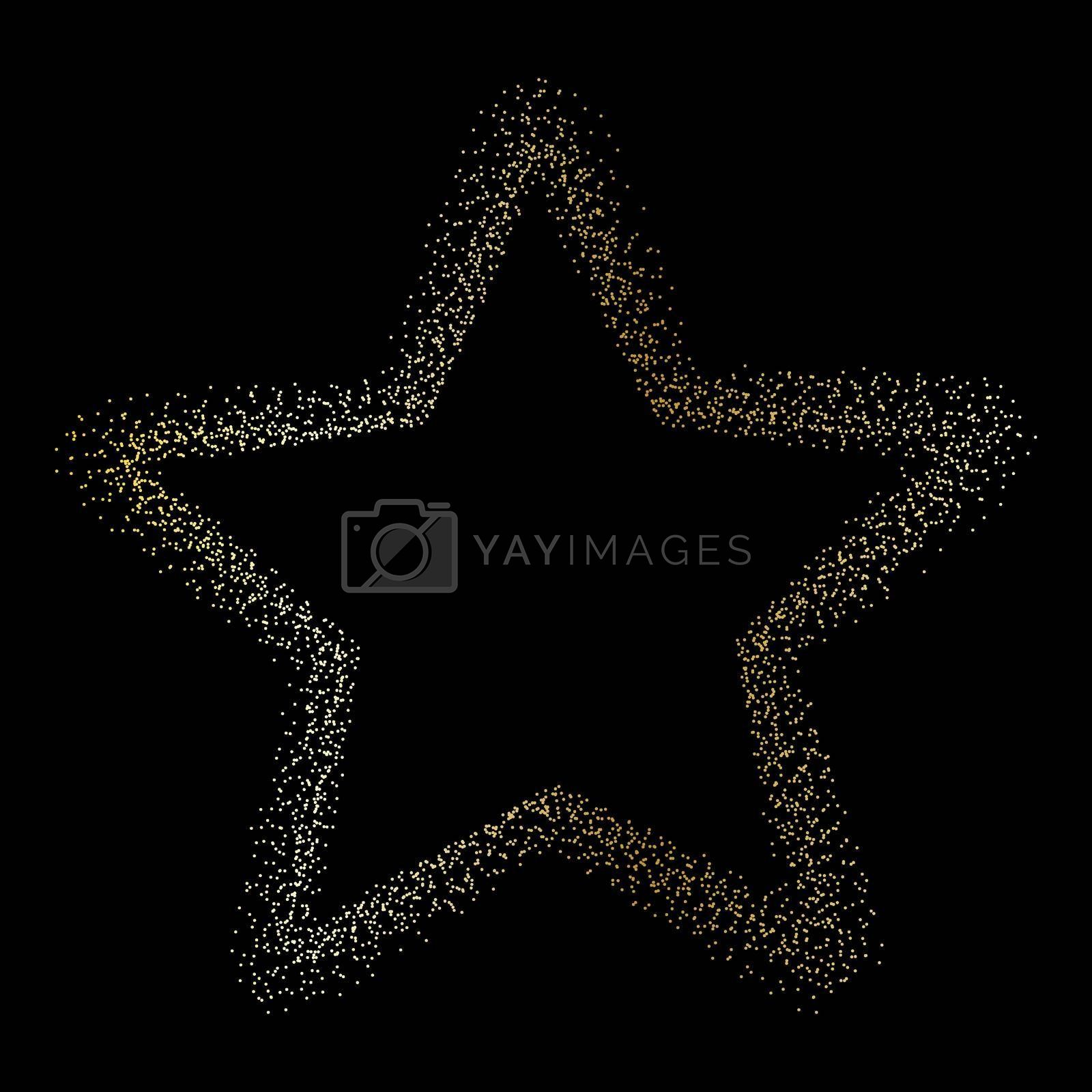 star of golden dust on a black background. Flat style.