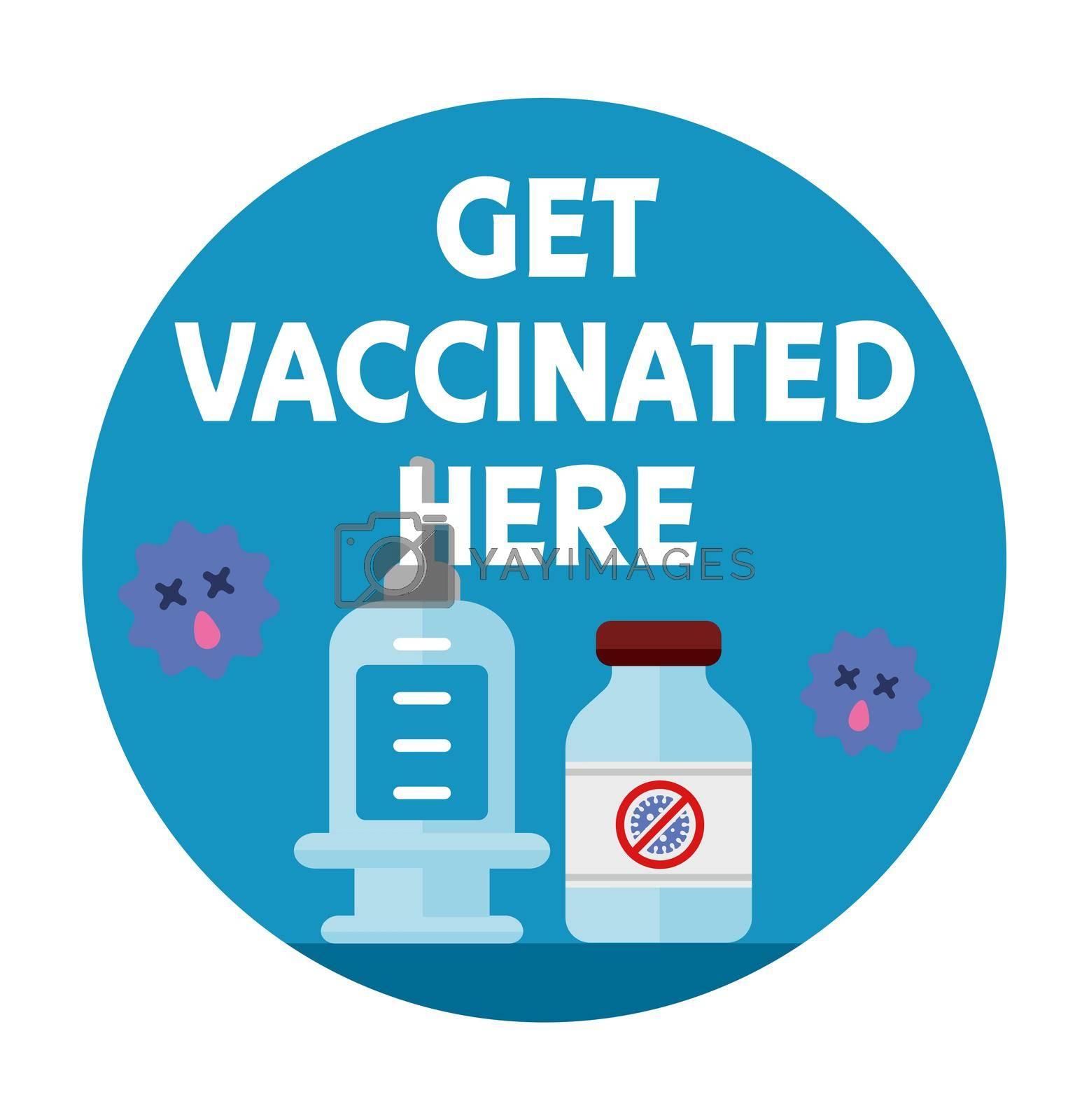"""Covid-19 (coronavirus) vaccine available here"" logo mark illustration"
