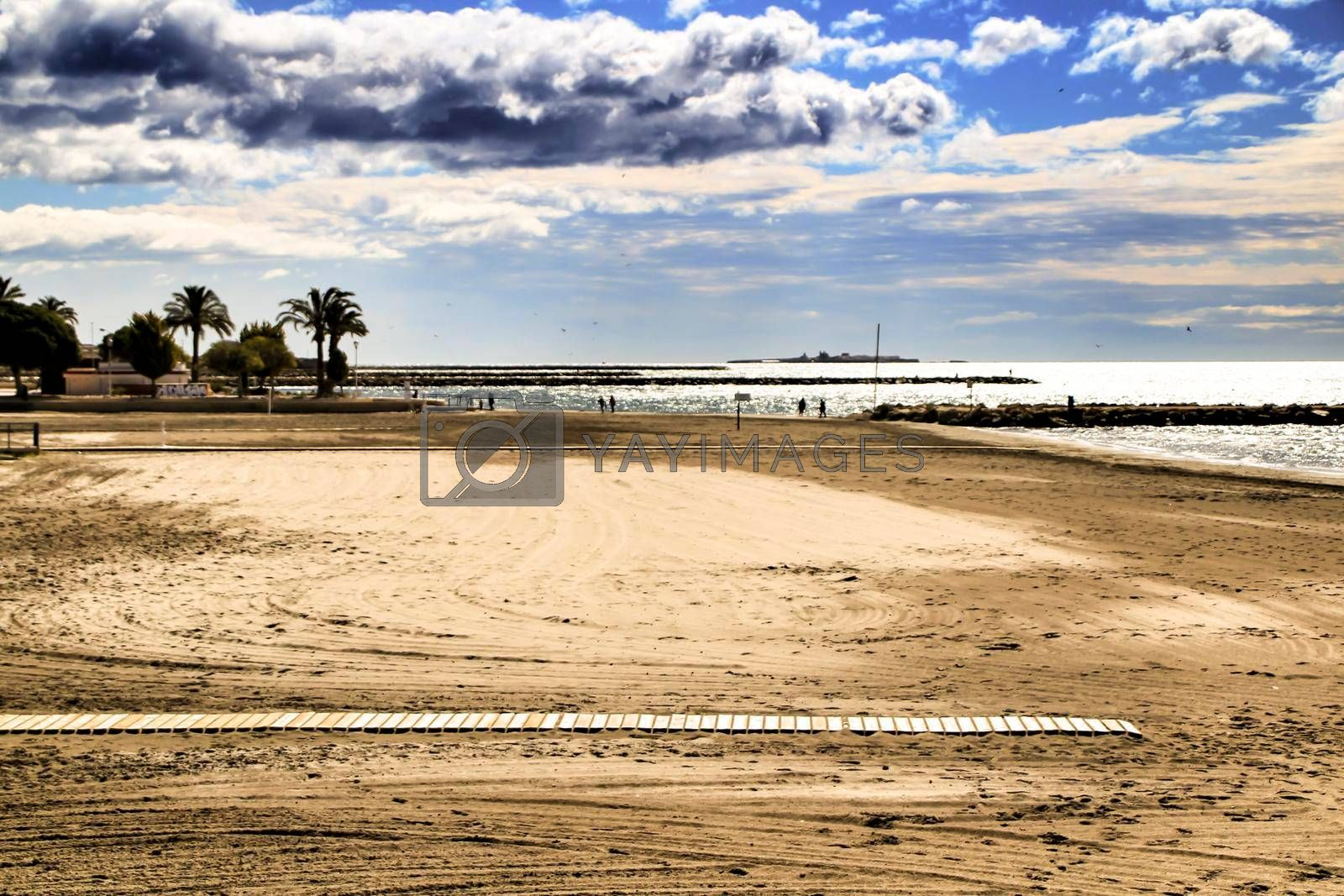 Beach in the morning in Santa Pola, a small fishing village in southern Spain