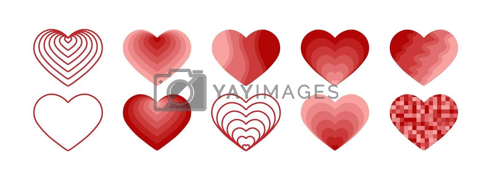 Royalty free image of A set of hearts for creative design and decoration of greetings by Grommik